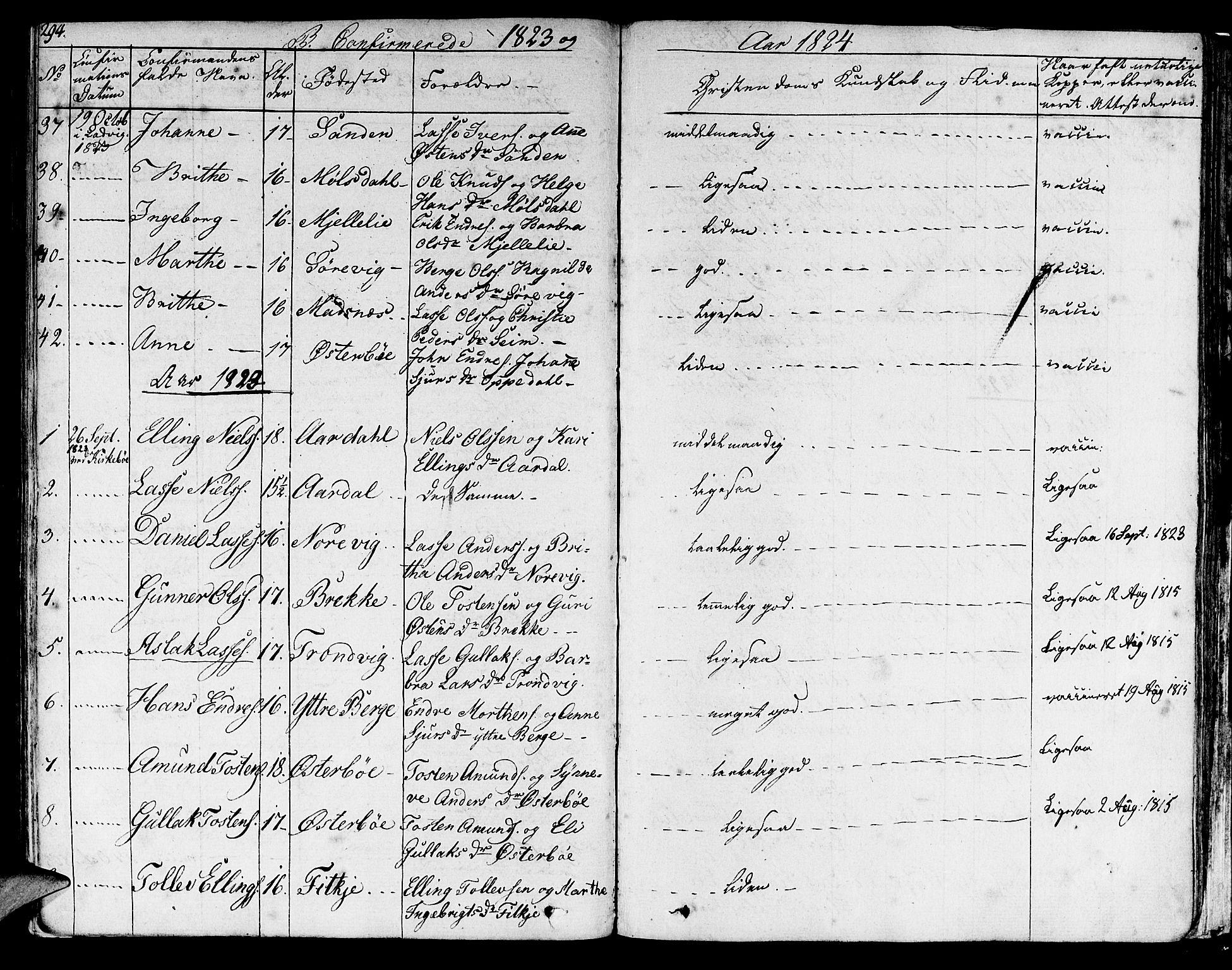 SAB, Lavik sokneprestembete, Ministerialbok nr. A 2I, 1821-1842, s. 294