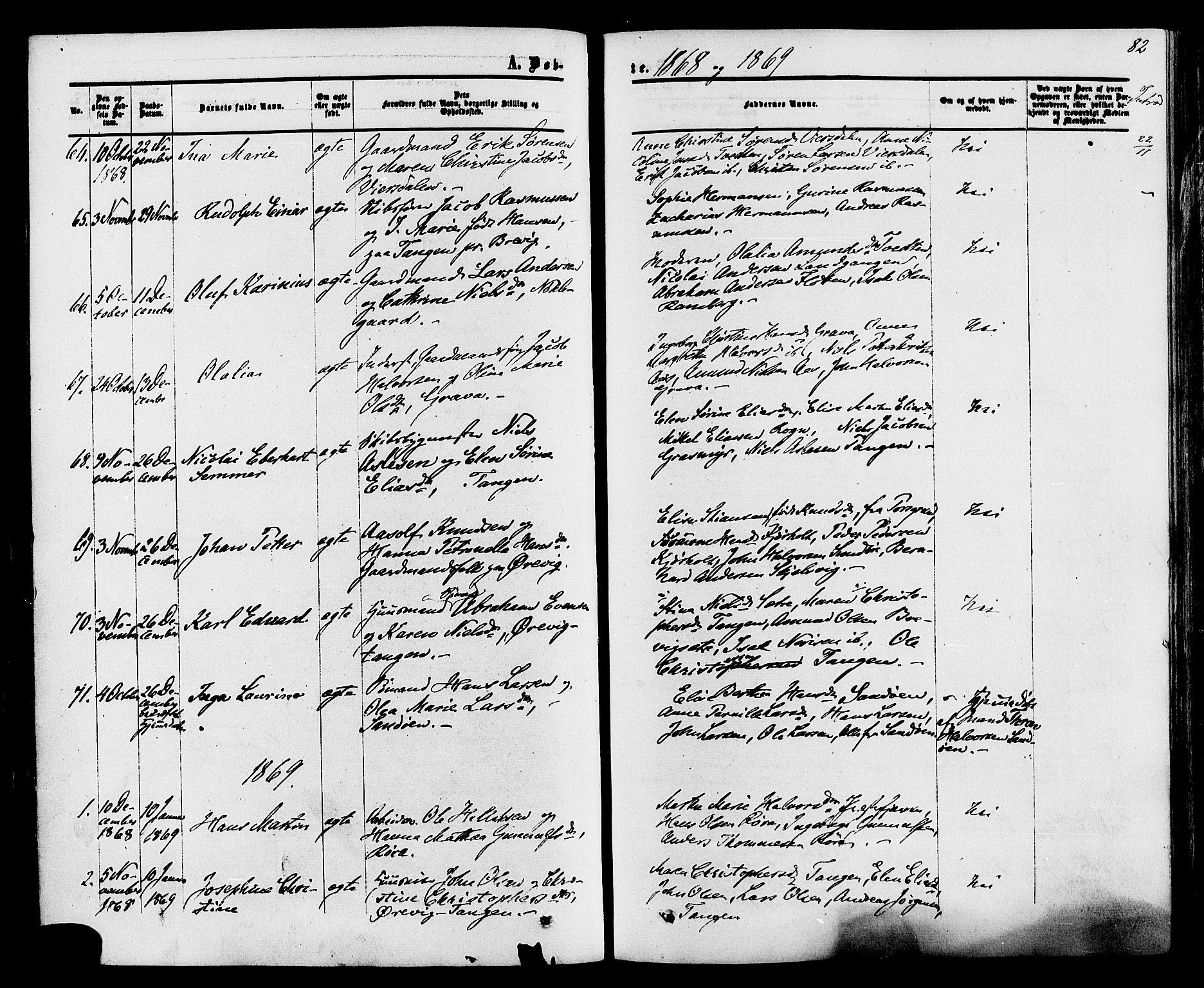 SAKO, Eidanger kirkebøker, F/Fa/L0010: Ministerialbok nr. 10, 1859-1874, s. 82