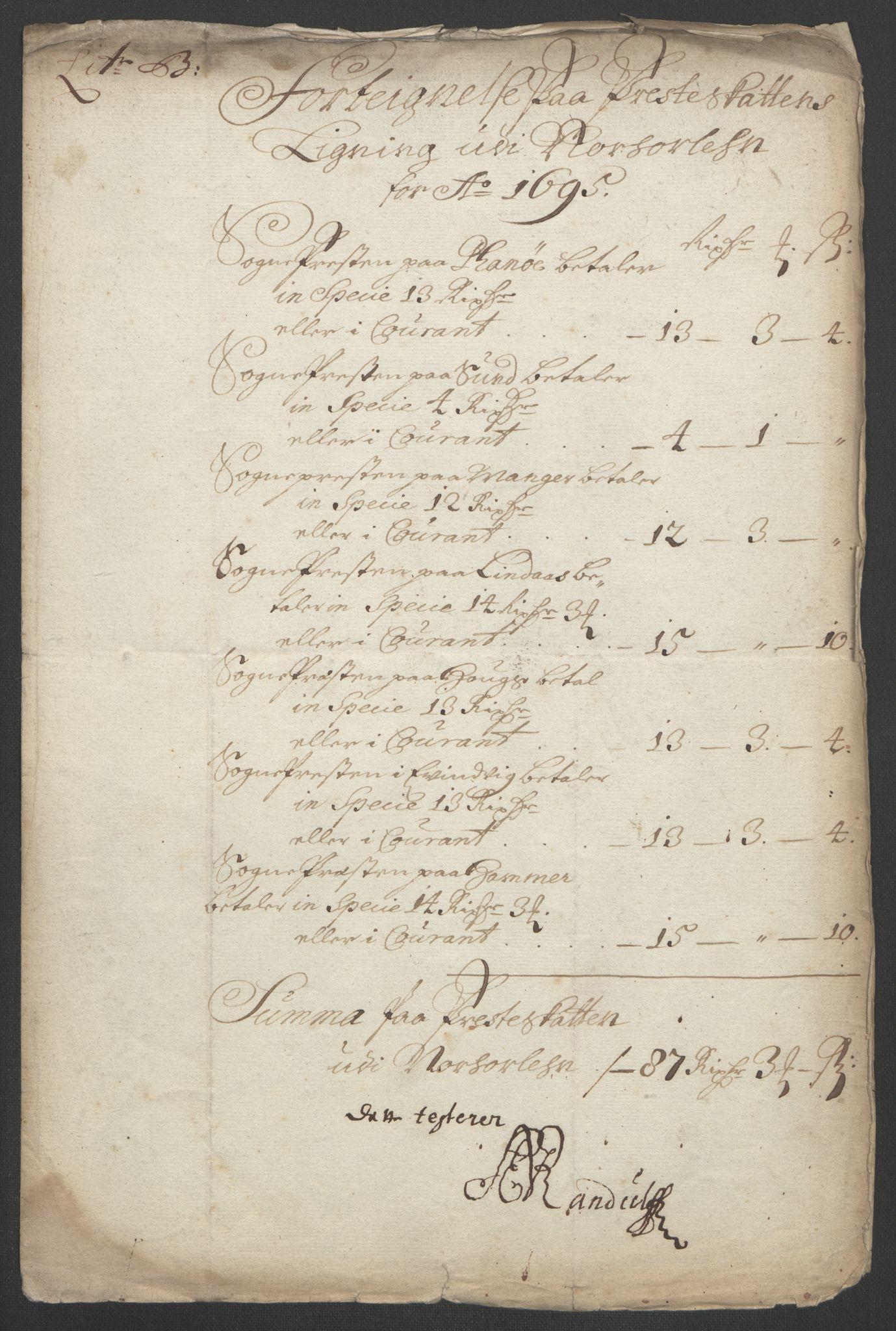 RA, Rentekammeret inntil 1814, Reviderte regnskaper, Fogderegnskap, R51/L3183: Fogderegnskap Nordhordland og Voss, 1695-1697, s. 103