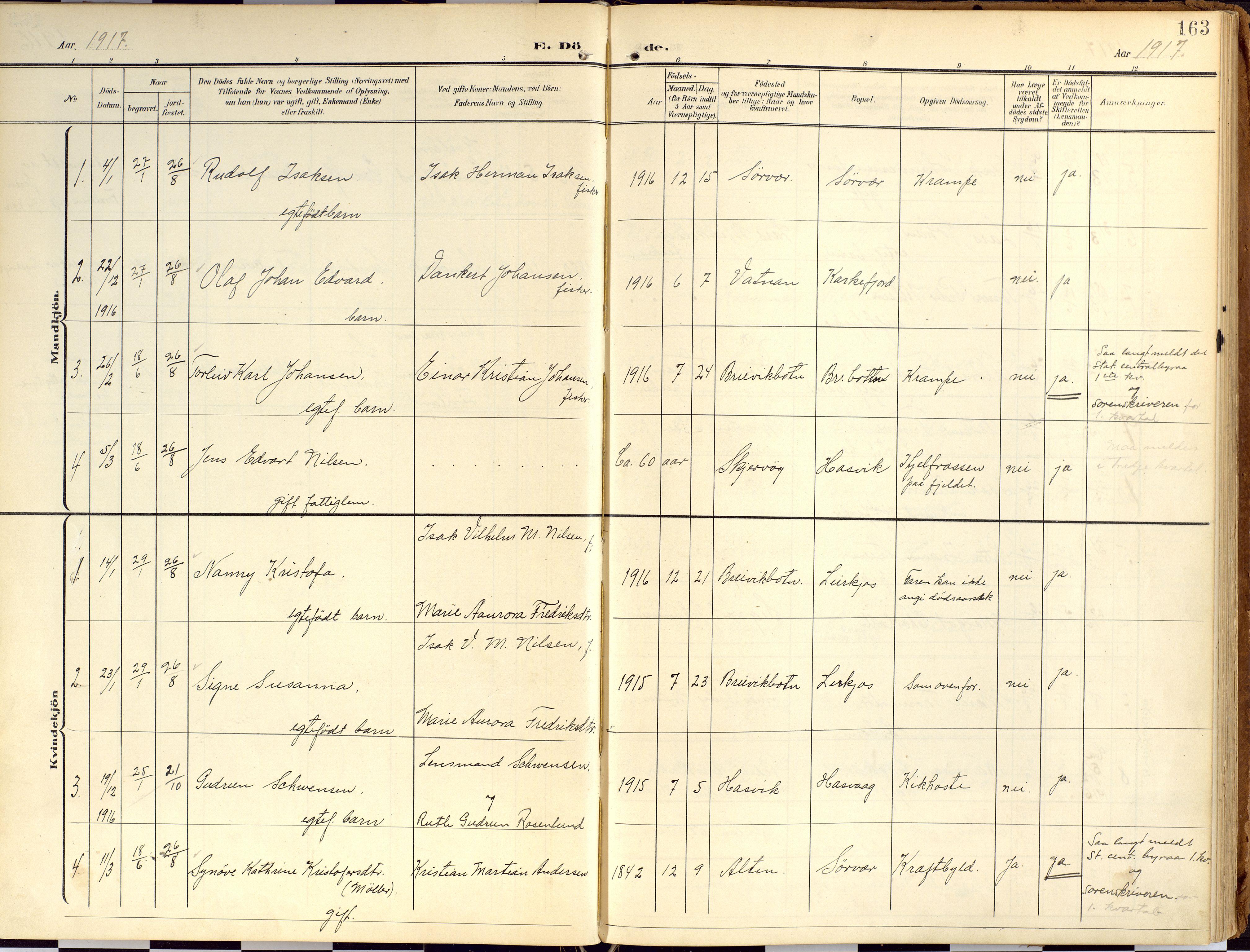 SATØ, Loppa sokneprestkontor, H/Ha/L0010kirke: Ministerialbok nr. 10, 1907-1922, s. 163