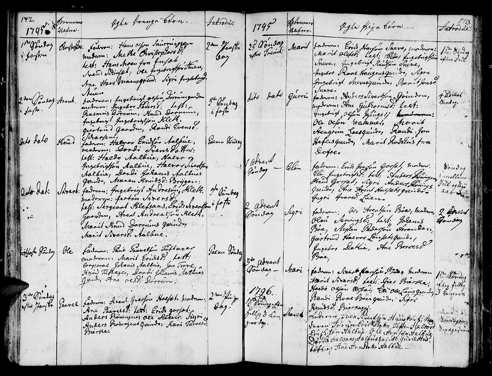 SAT, Ministerialprotokoller, klokkerbøker og fødselsregistre - Sør-Trøndelag, 678/L0893: Ministerialbok nr. 678A03, 1792-1805, s. 172-173