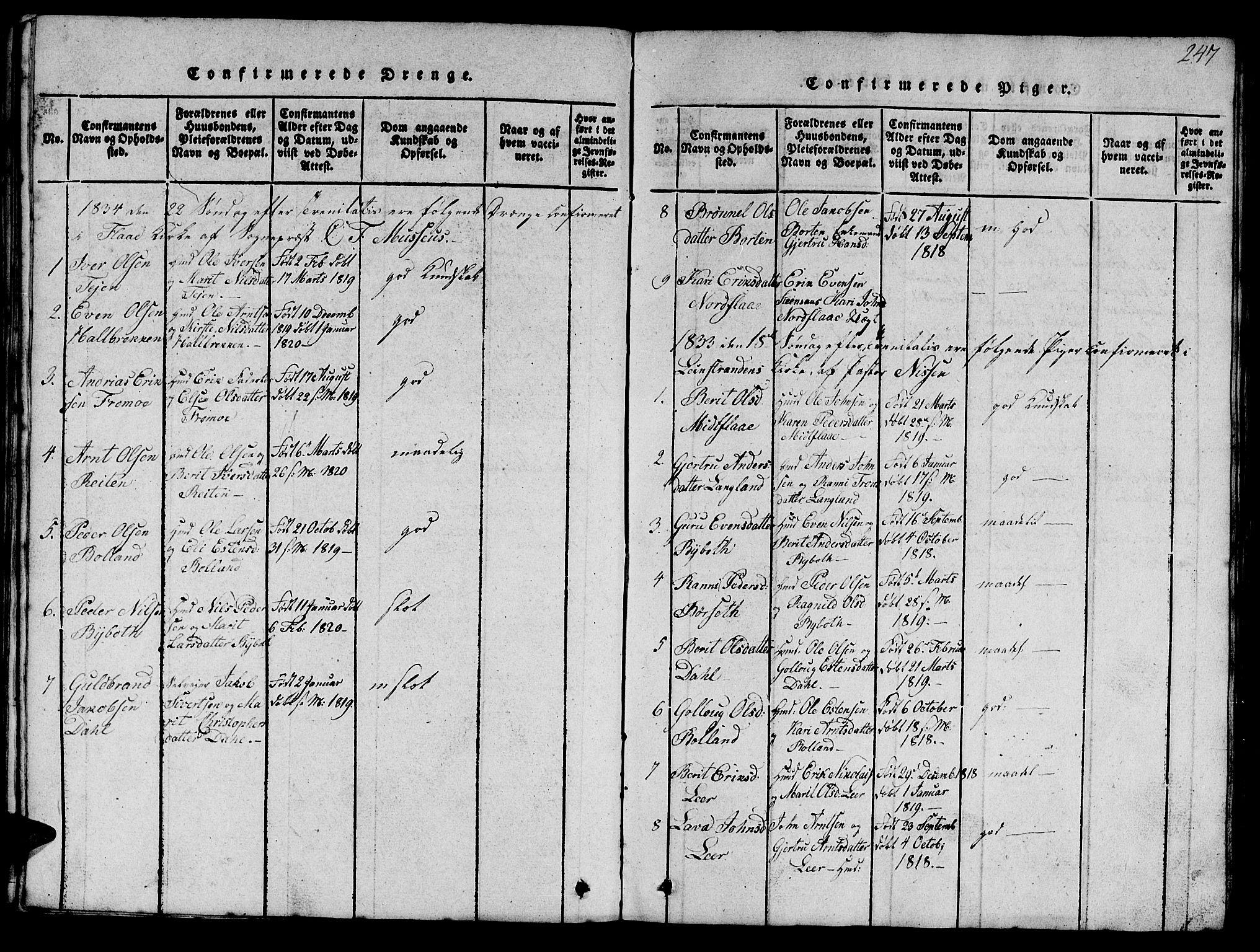 SAT, Ministerialprotokoller, klokkerbøker og fødselsregistre - Sør-Trøndelag, 693/L1121: Klokkerbok nr. 693C02, 1816-1869, s. 247