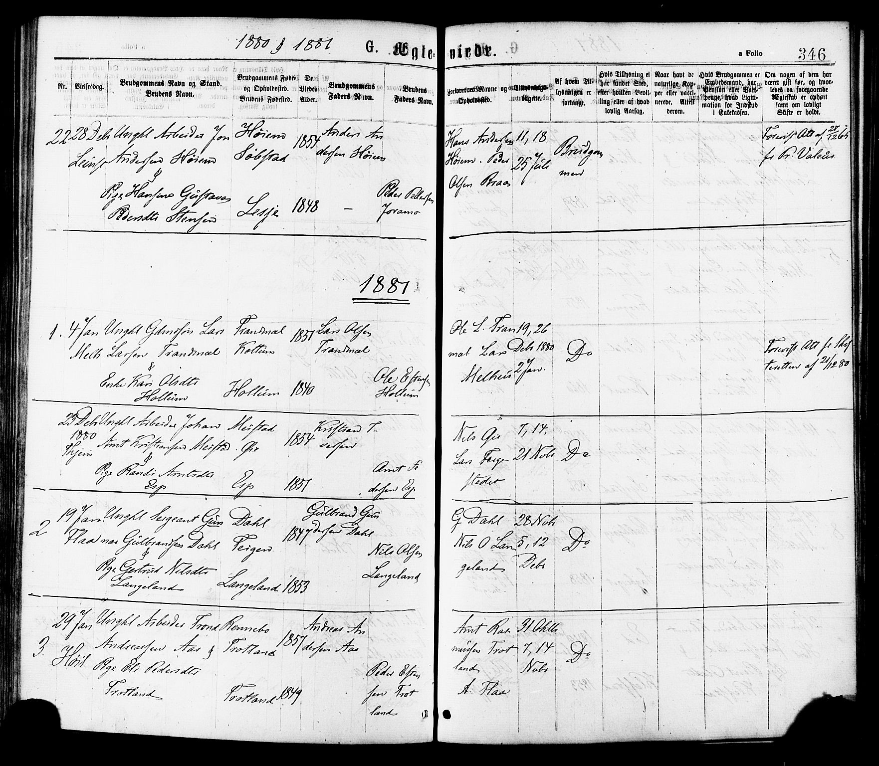 SAT, Ministerialprotokoller, klokkerbøker og fødselsregistre - Sør-Trøndelag, 691/L1079: Ministerialbok nr. 691A11, 1873-1886, s. 346