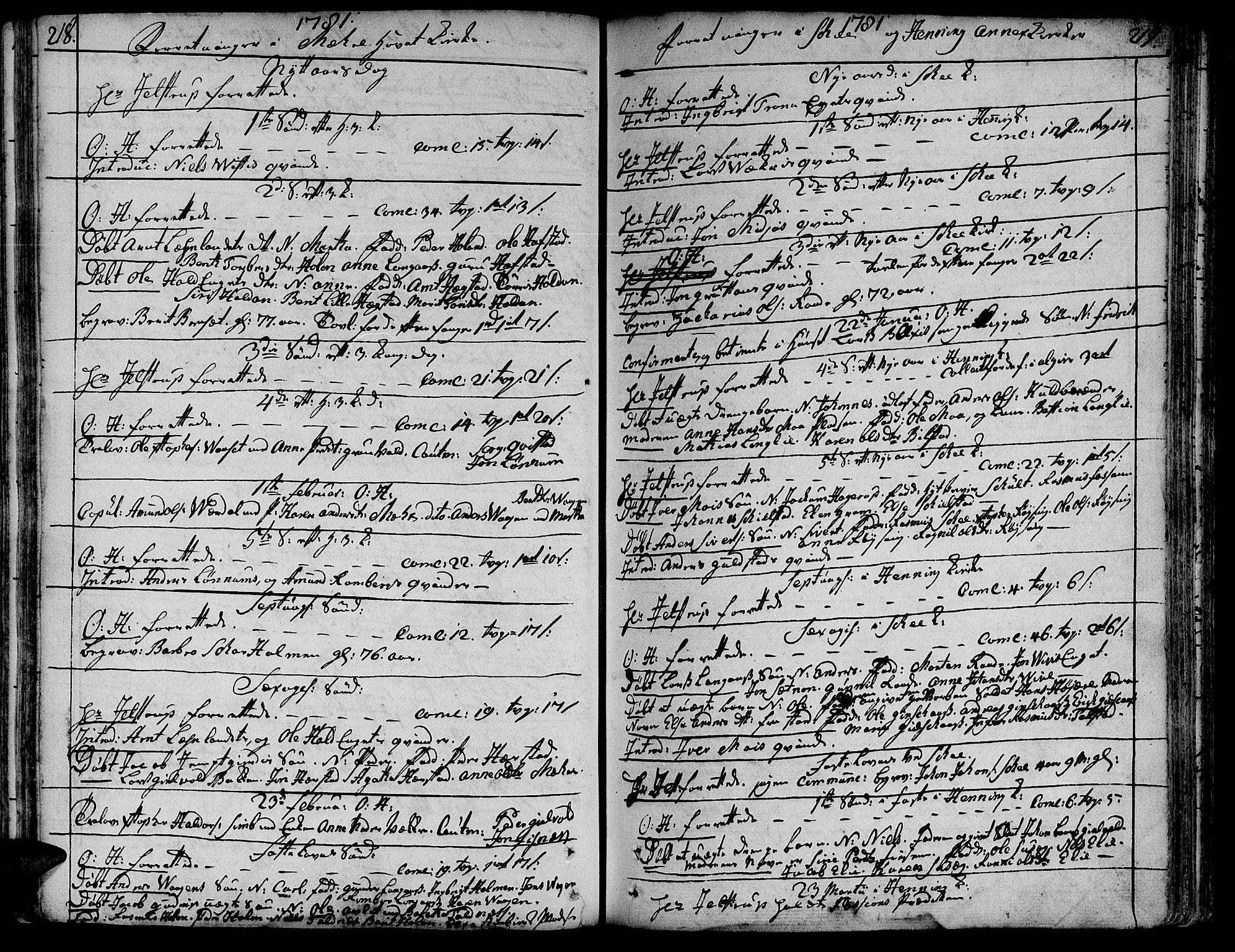SAT, Ministerialprotokoller, klokkerbøker og fødselsregistre - Nord-Trøndelag, 735/L0331: Ministerialbok nr. 735A02, 1762-1794, s. 218-219