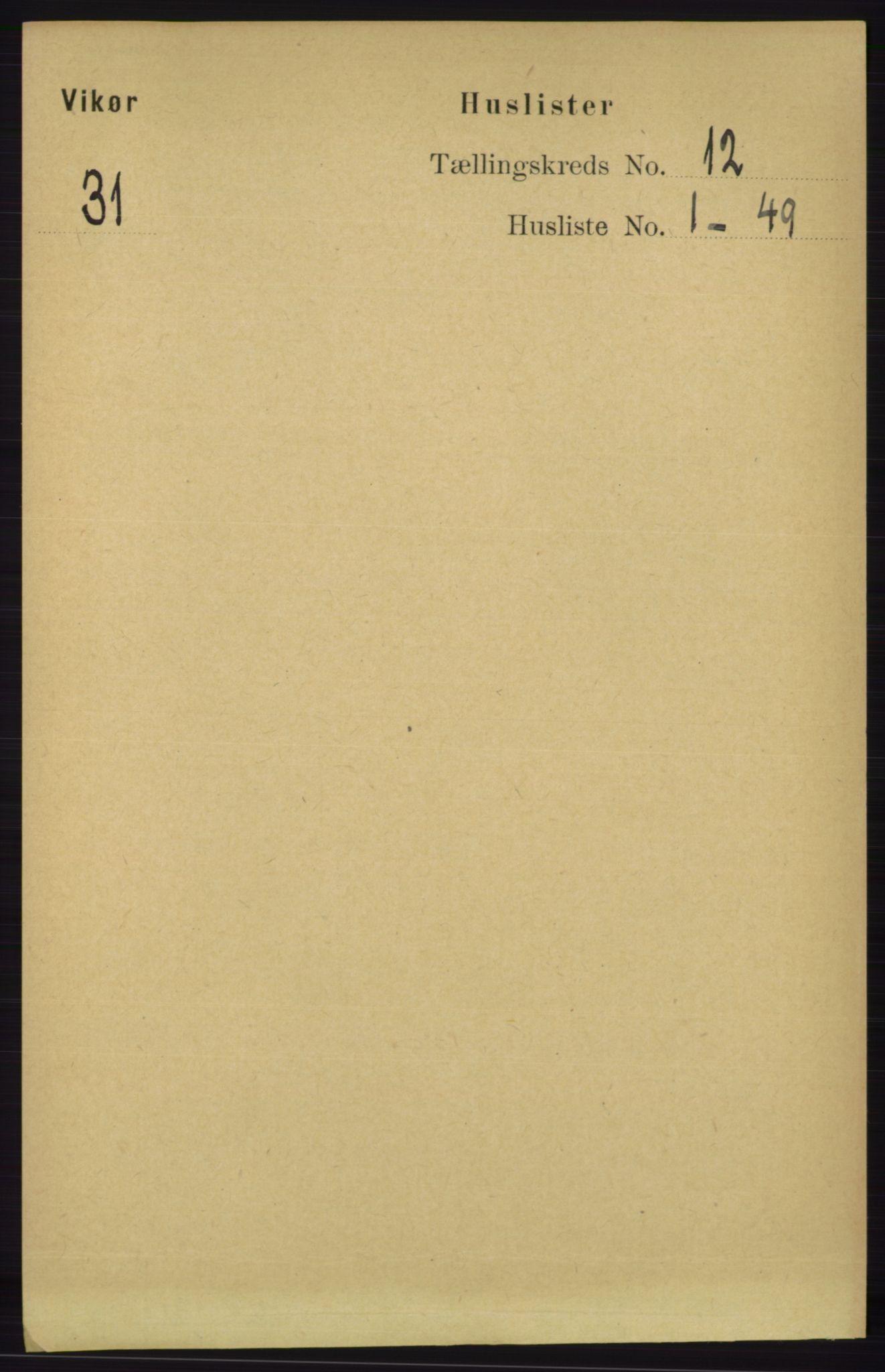 RA, Folketelling 1891 for 1238 Vikør herred, 1891, s. 3257