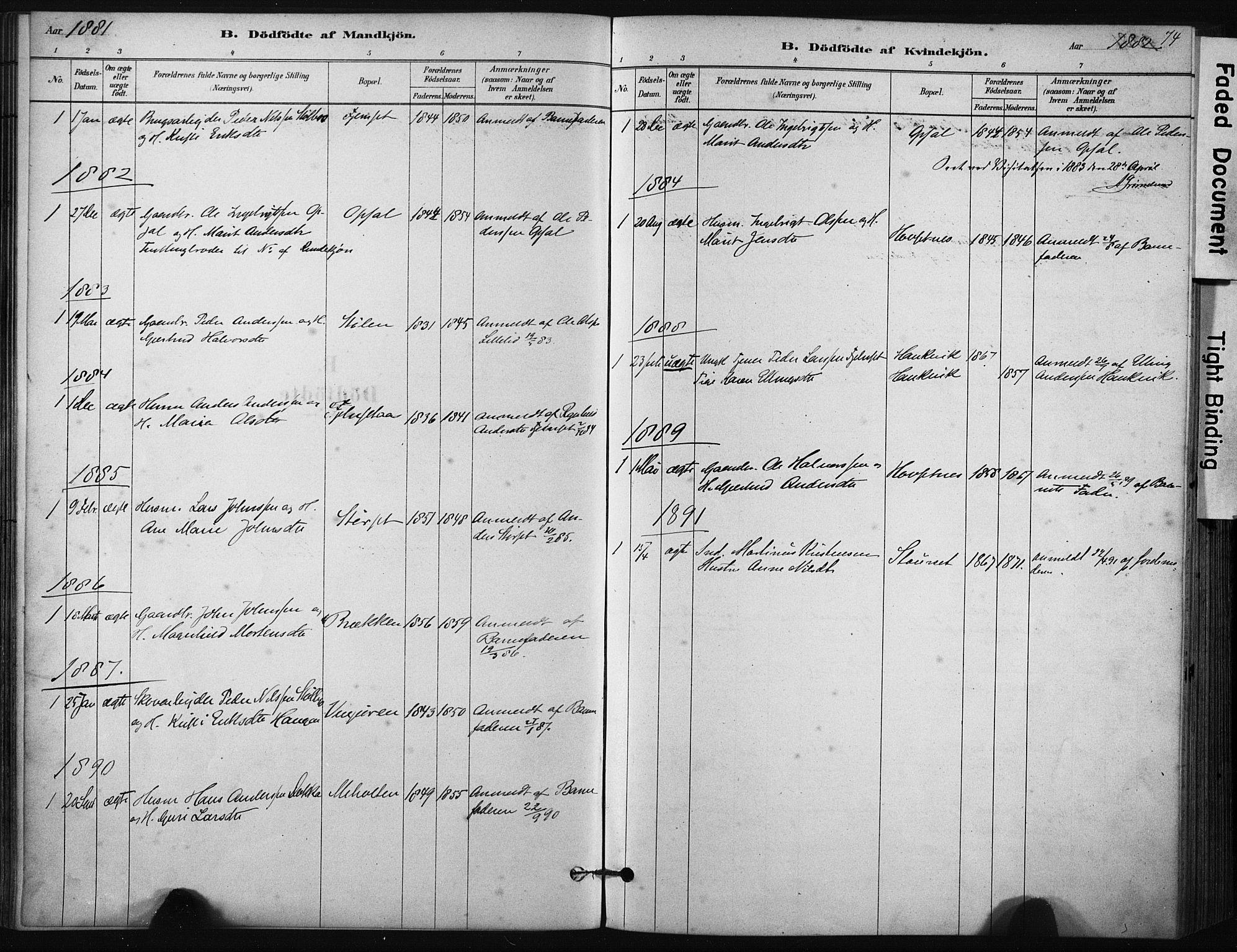 SAT, Ministerialprotokoller, klokkerbøker og fødselsregistre - Sør-Trøndelag, 631/L0512: Ministerialbok nr. 631A01, 1879-1912, s. 74