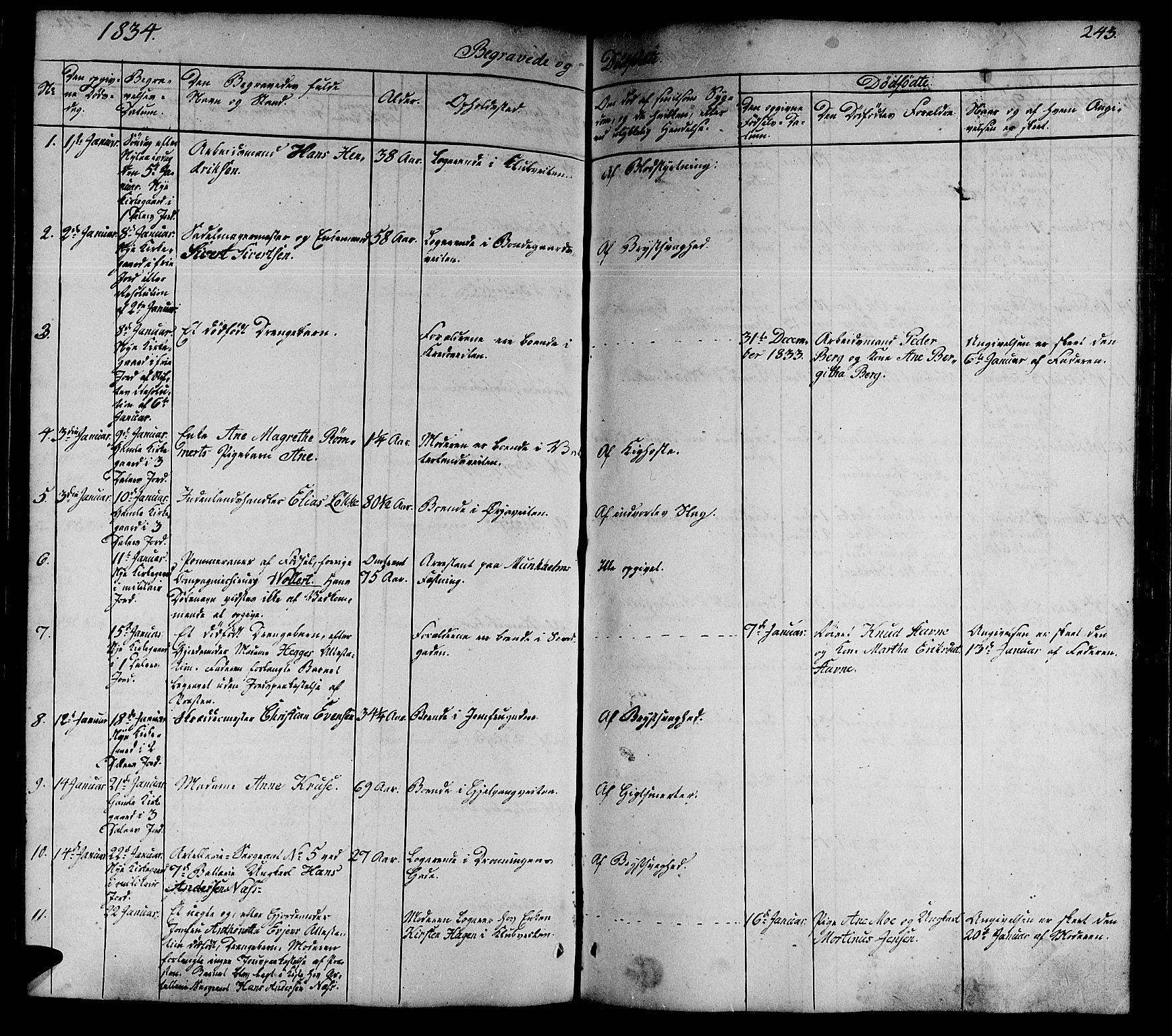 SAT, Ministerialprotokoller, klokkerbøker og fødselsregistre - Sør-Trøndelag, 602/L0136: Klokkerbok nr. 602C04, 1833-1845, s. 243