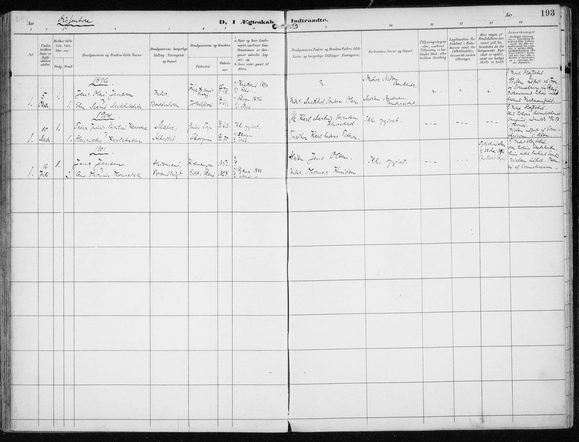 SATØ, Skjervøy sokneprestkontor, H/Ha/Haa/L0016kirke: Ministerialbok nr. 16, 1892-1908, s. 193