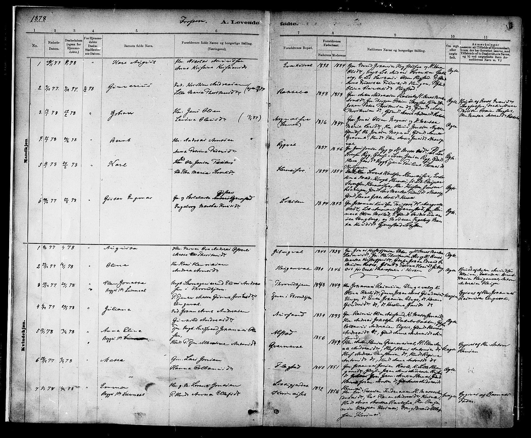 SAT, Ministerialprotokoller, klokkerbøker og fødselsregistre - Nord-Trøndelag, 713/L0120: Ministerialbok nr. 713A09, 1878-1887, s. 1