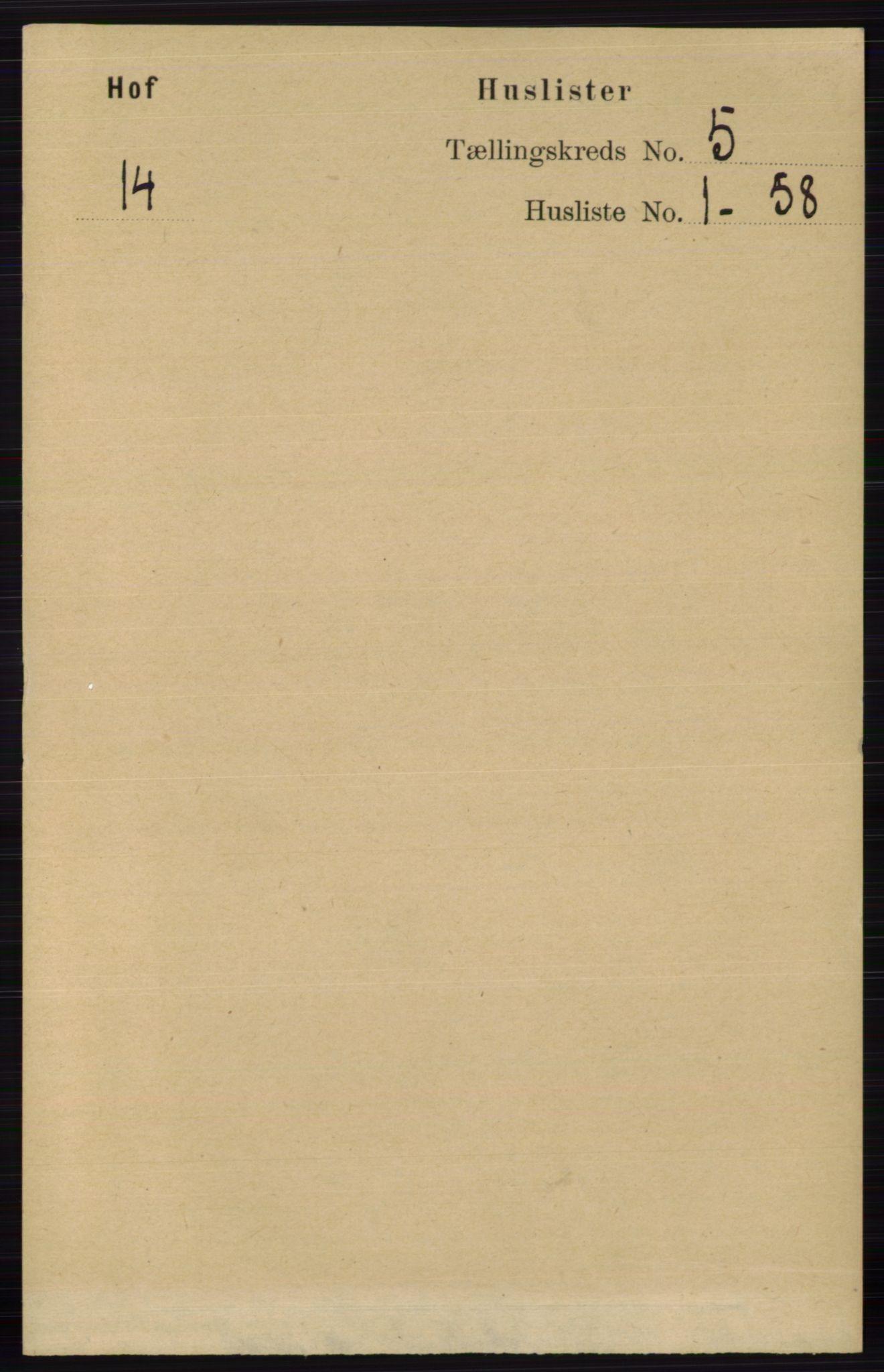 RA, Folketelling 1891 for 0424 Hof herred, 1891, s. 1819