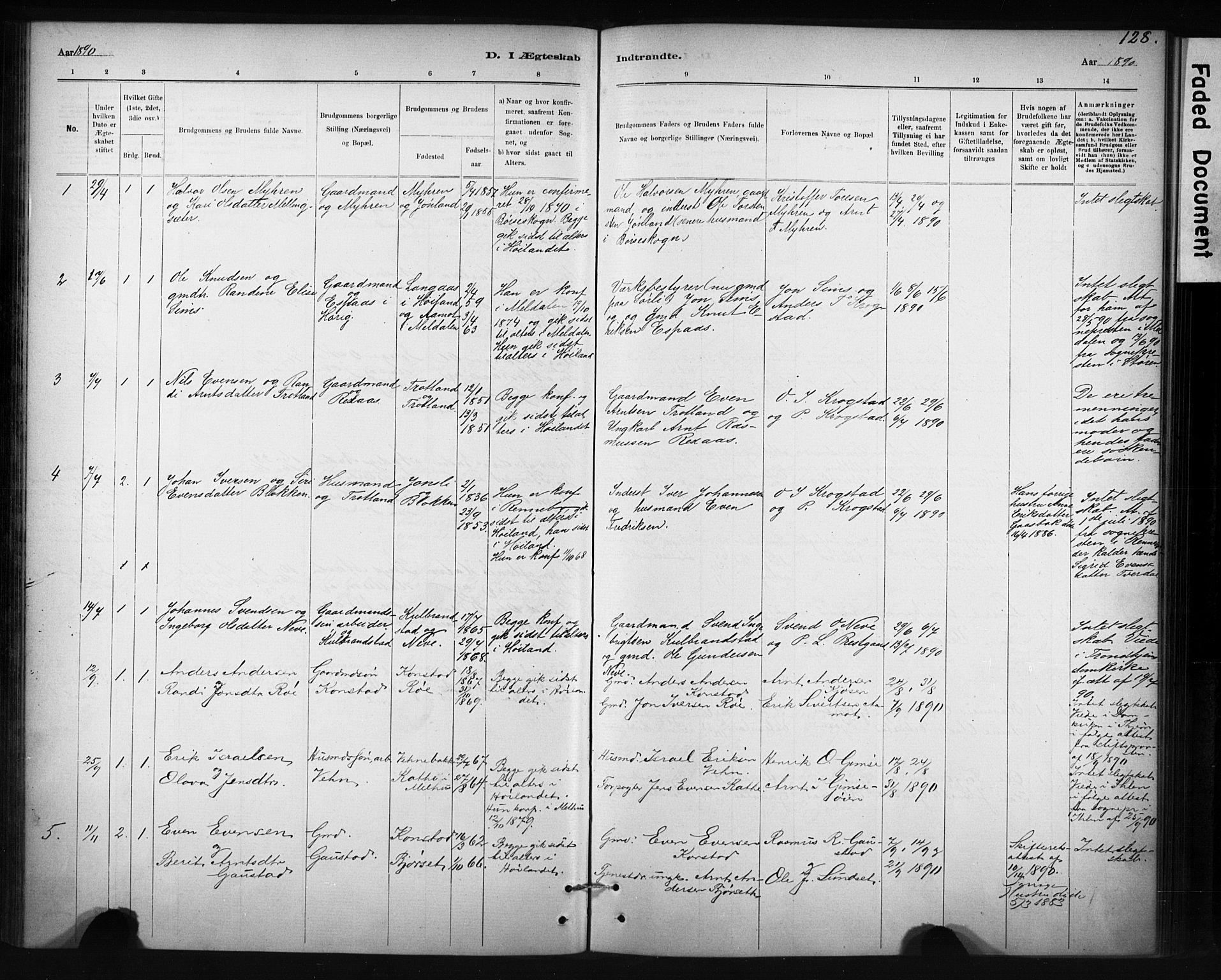 SAT, Ministerialprotokoller, klokkerbøker og fødselsregistre - Sør-Trøndelag, 694/L1127: Ministerialbok nr. 694A01, 1887-1905, s. 128