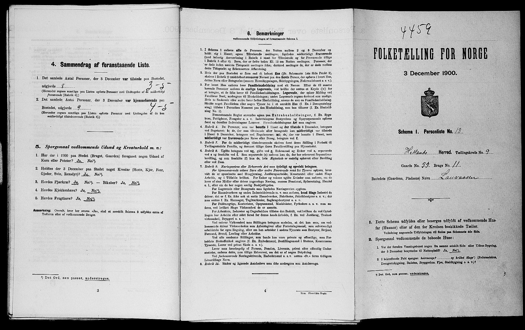 SAST, Folketelling 1900 for 1126 Hetland herred, 1900, s. 1365