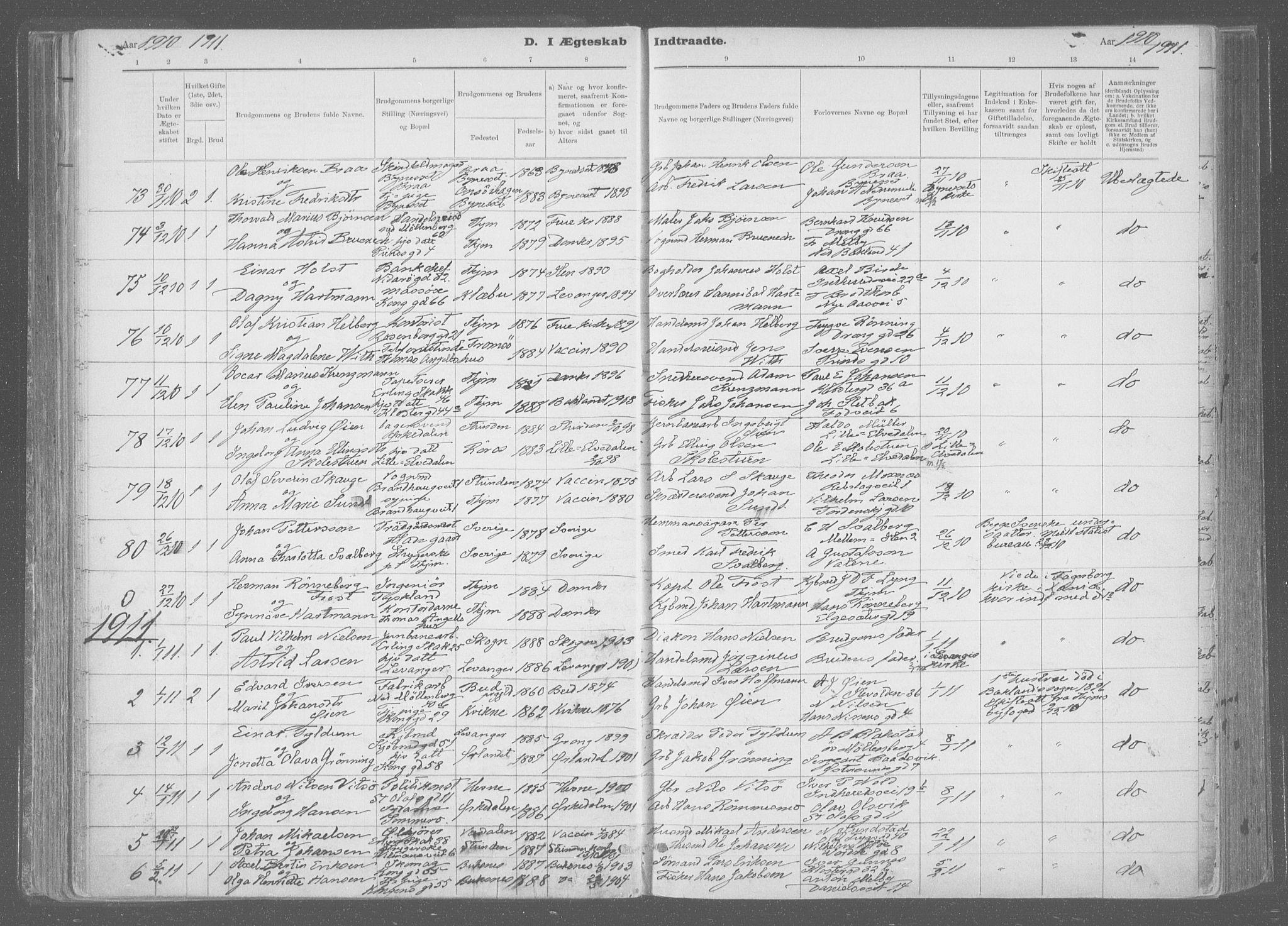 SAT, Ministerialprotokoller, klokkerbøker og fødselsregistre - Sør-Trøndelag, 601/L0064: Ministerialbok nr. 601A31, 1891-1911