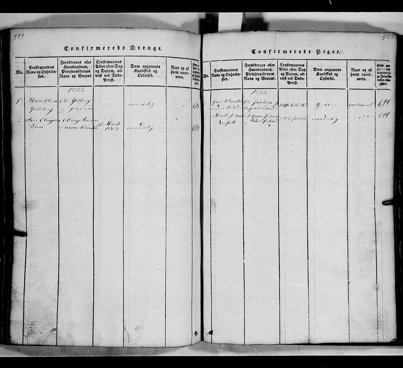 SAH, Gausdal prestekontor, Klokkerbok nr. 2, 1818-1874, s. 484-485