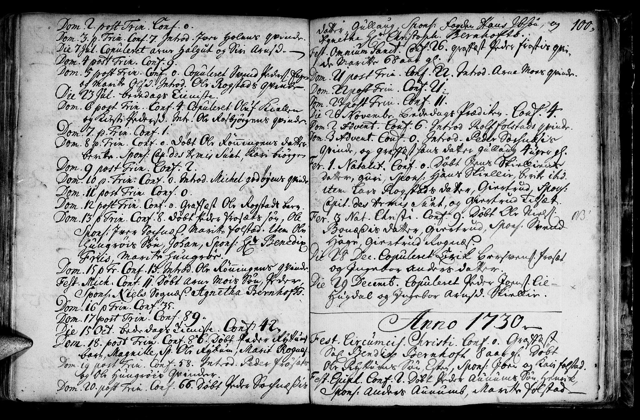 SAT, Ministerialprotokoller, klokkerbøker og fødselsregistre - Sør-Trøndelag, 687/L0990: Ministerialbok nr. 687A01, 1690-1746, s. 100