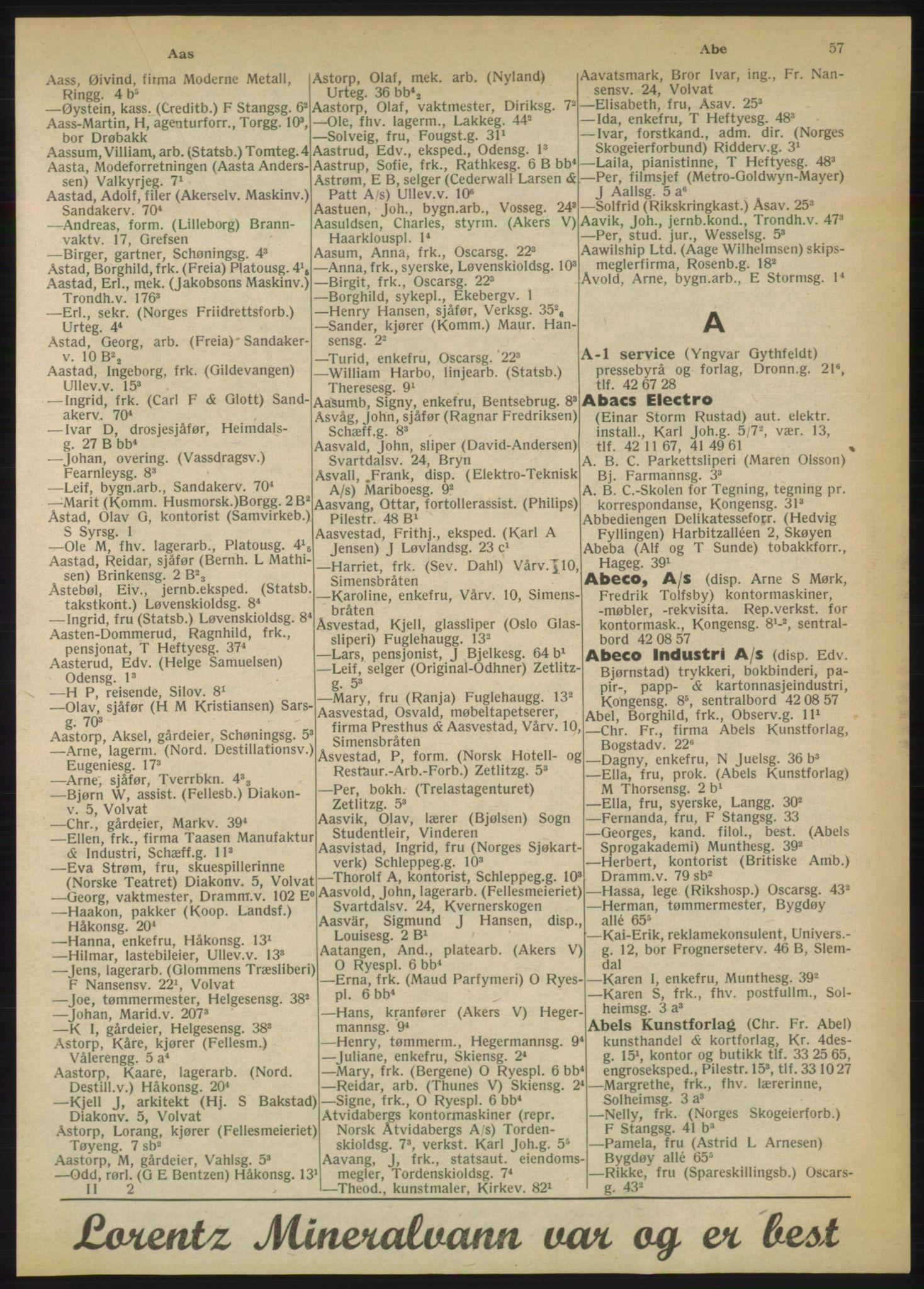 PUBL, Kristiania/Oslo adressebok, 1950, s. 57