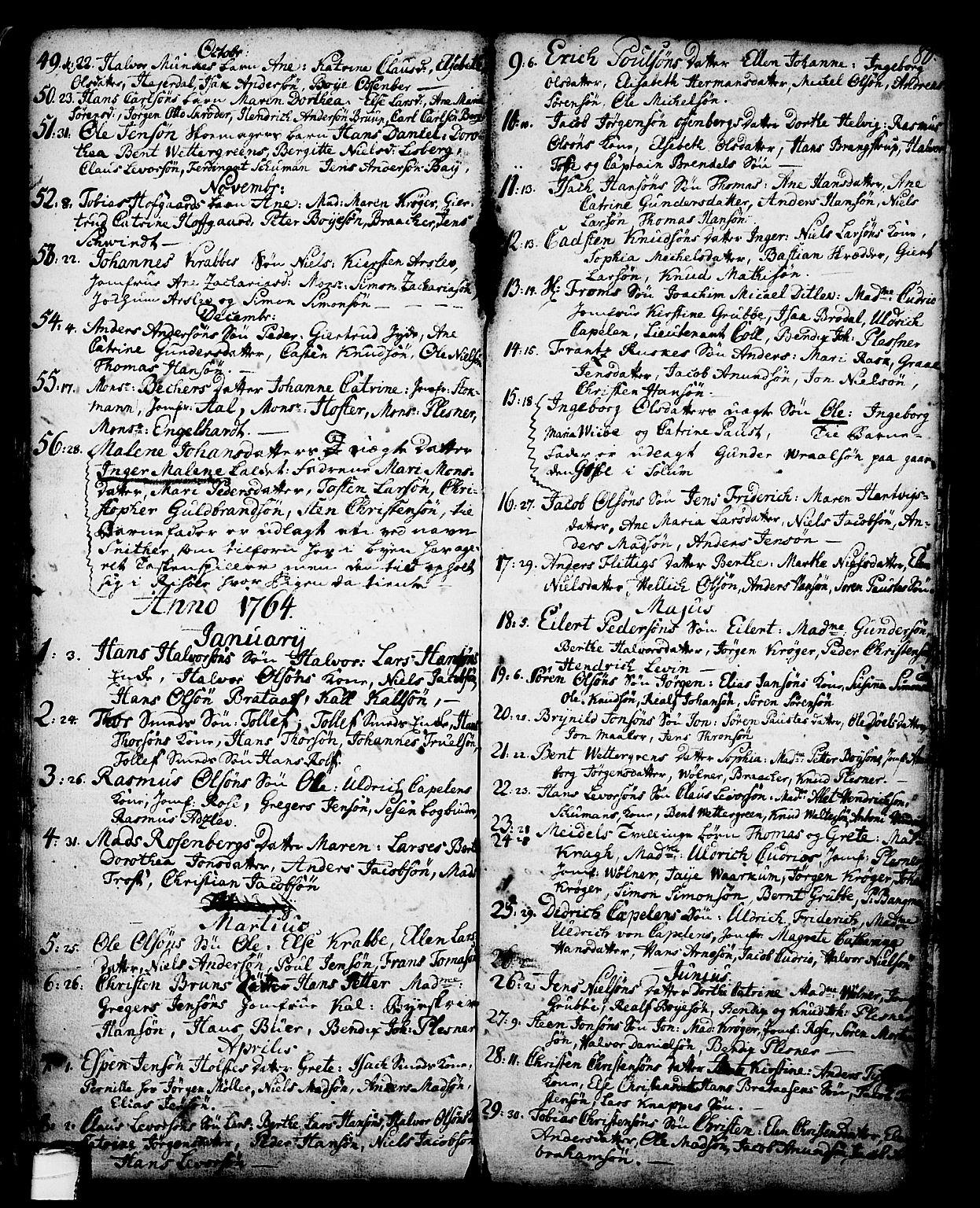 SAKO, Skien kirkebøker, G/Ga/L0001: Klokkerbok nr. 1, 1756-1791, s. 80