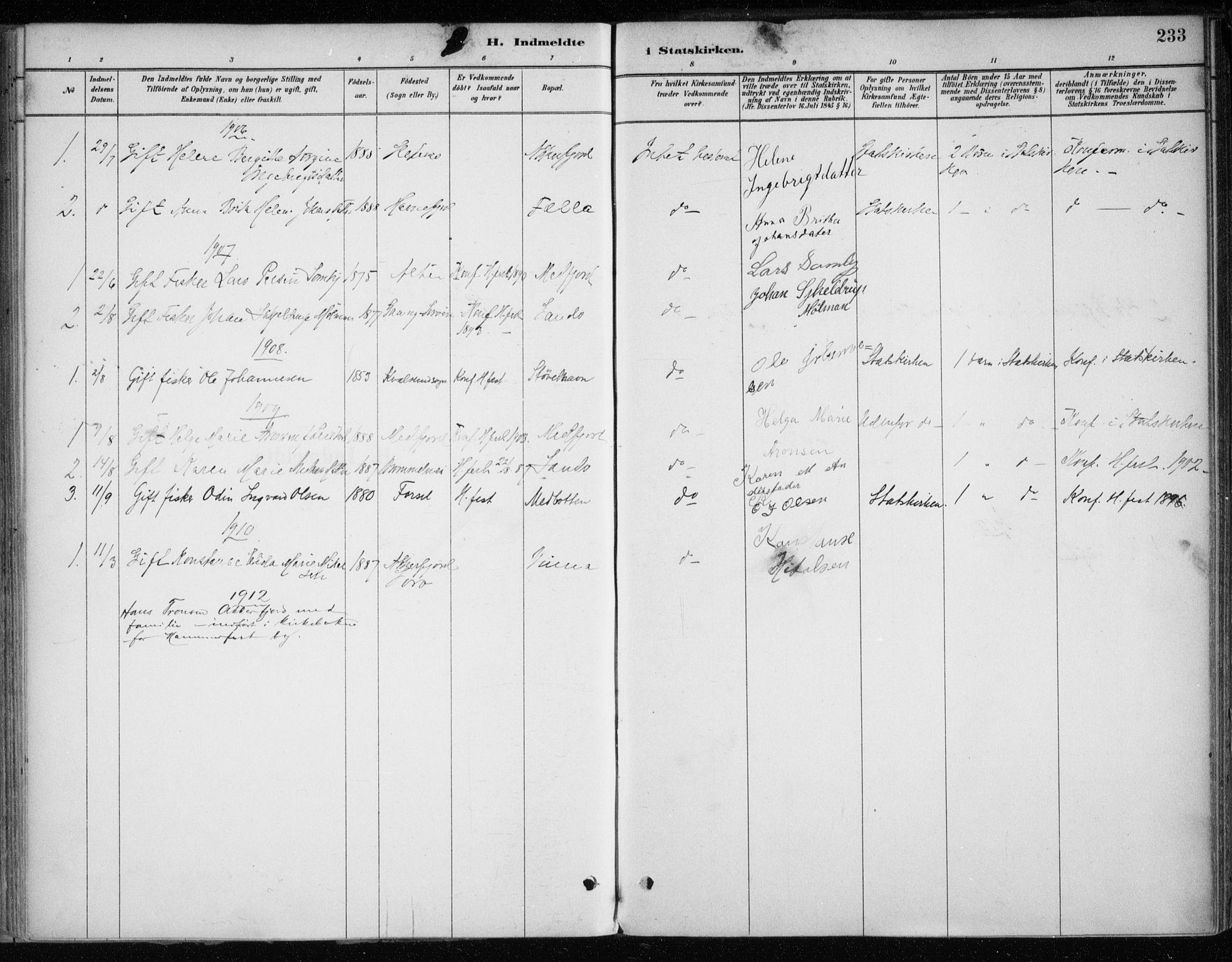 SATØ, Hammerfest sokneprestkontor, H/Ha/L0013.kirke: Ministerialbok nr. 13, 1898-1917, s. 233