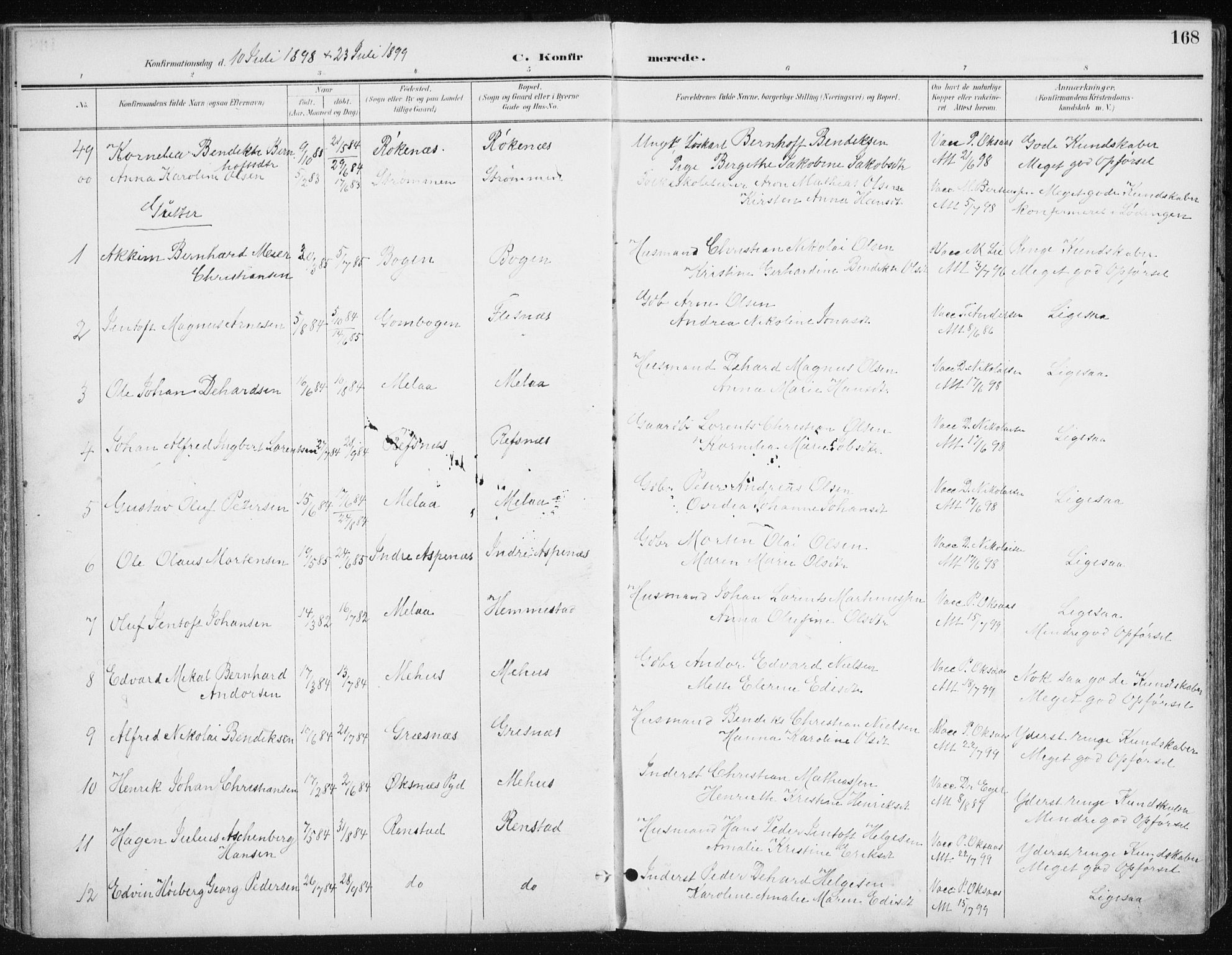 SATØ, Kvæfjord sokneprestkontor, G/Ga/Gaa/L0006kirke: Ministerialbok nr. 6, 1895-1914, s. 168