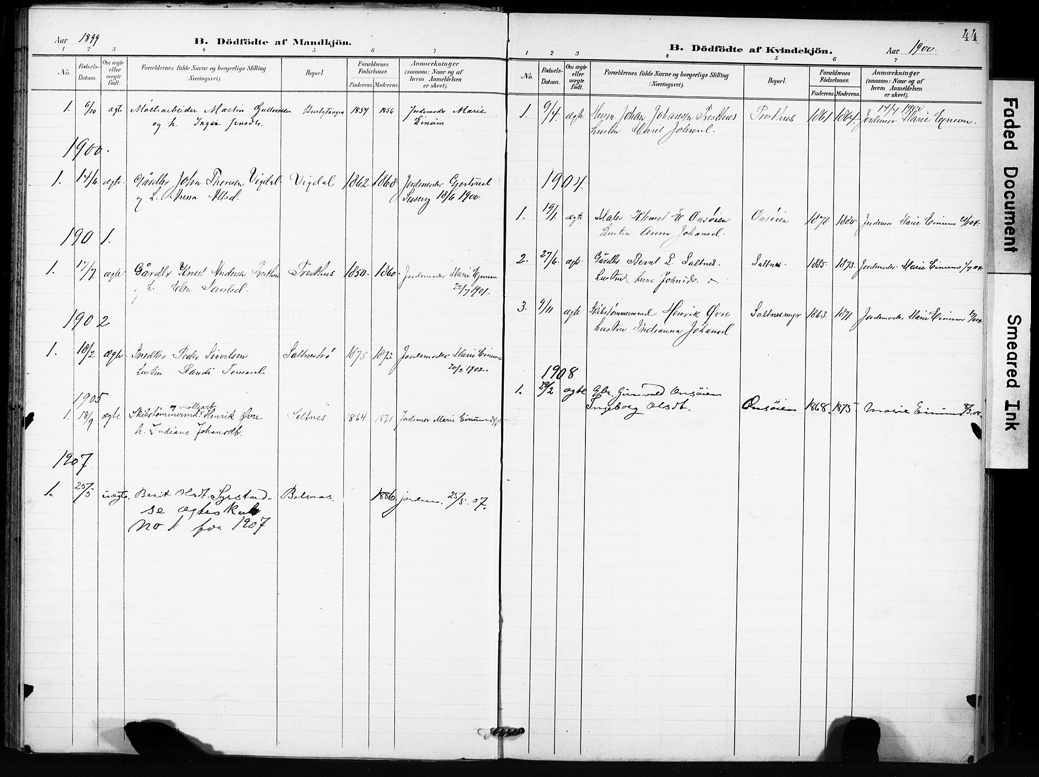 SAT, Ministerialprotokoller, klokkerbøker og fødselsregistre - Sør-Trøndelag, 666/L0787: Ministerialbok nr. 666A05, 1895-1908, s. 44