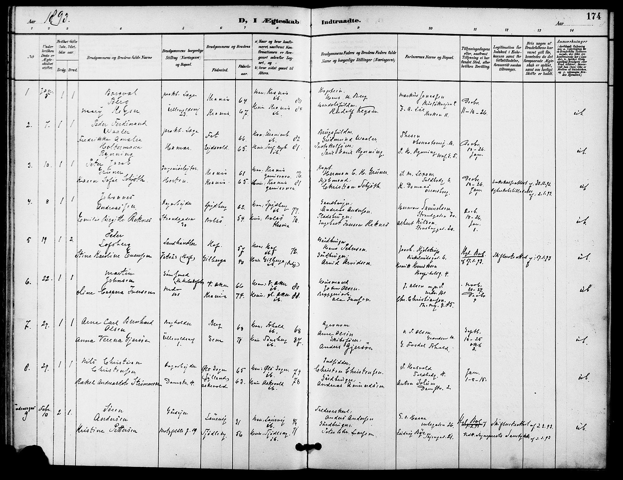 SAO, Gamle Aker prestekontor Kirkebøker, F/L0009: Ministerialbok nr. 9, 1890-1898, s. 174