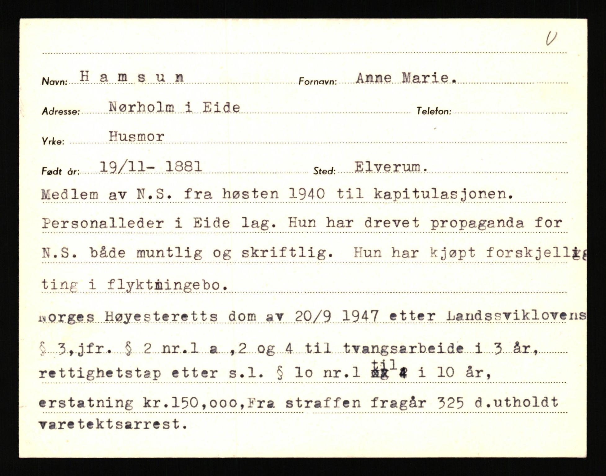 RA, Landssvikarkivet, Arendal politikammer, D/Dc/L0029: Anr. 192/45, 1945-1951, s. 3