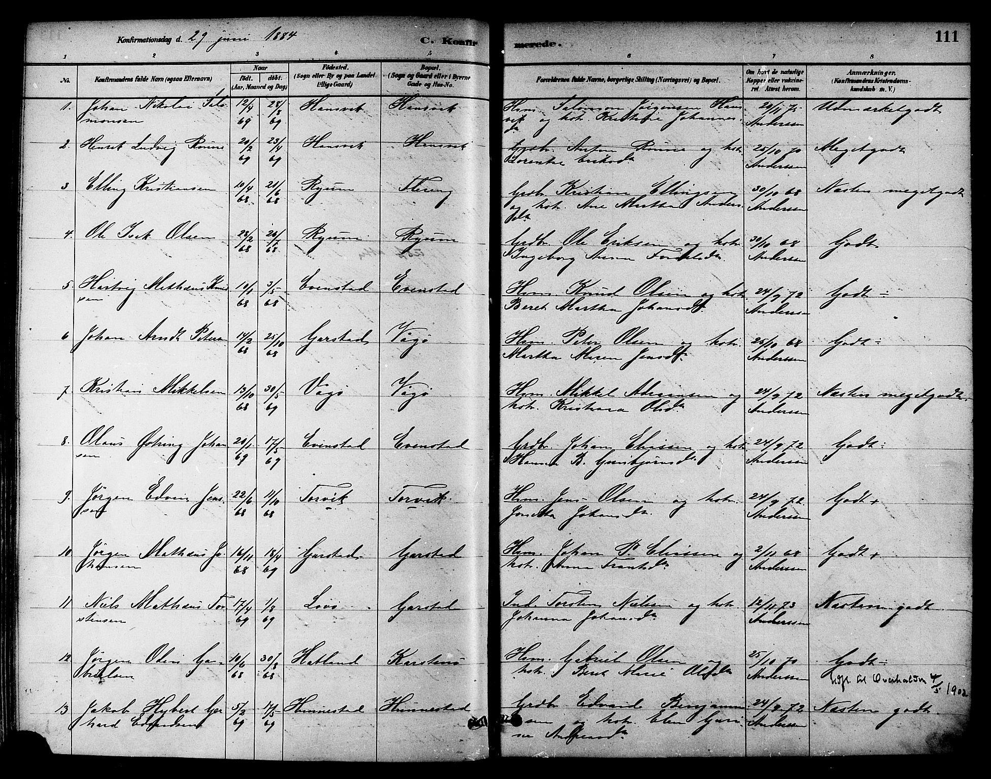 SAT, Ministerialprotokoller, klokkerbøker og fødselsregistre - Nord-Trøndelag, 786/L0686: Ministerialbok nr. 786A02, 1880-1887, s. 111