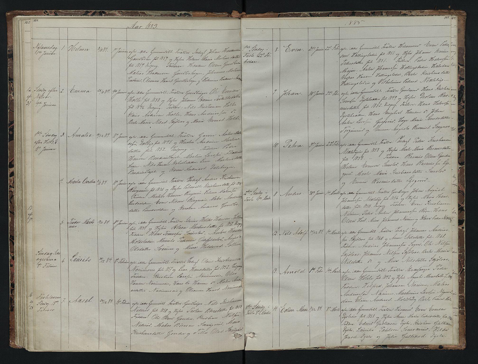 SAH, Vestre Toten prestekontor, H/Ha/Hab/L0007: Klokkerbok nr. 7, 1872-1900, s. 166-167