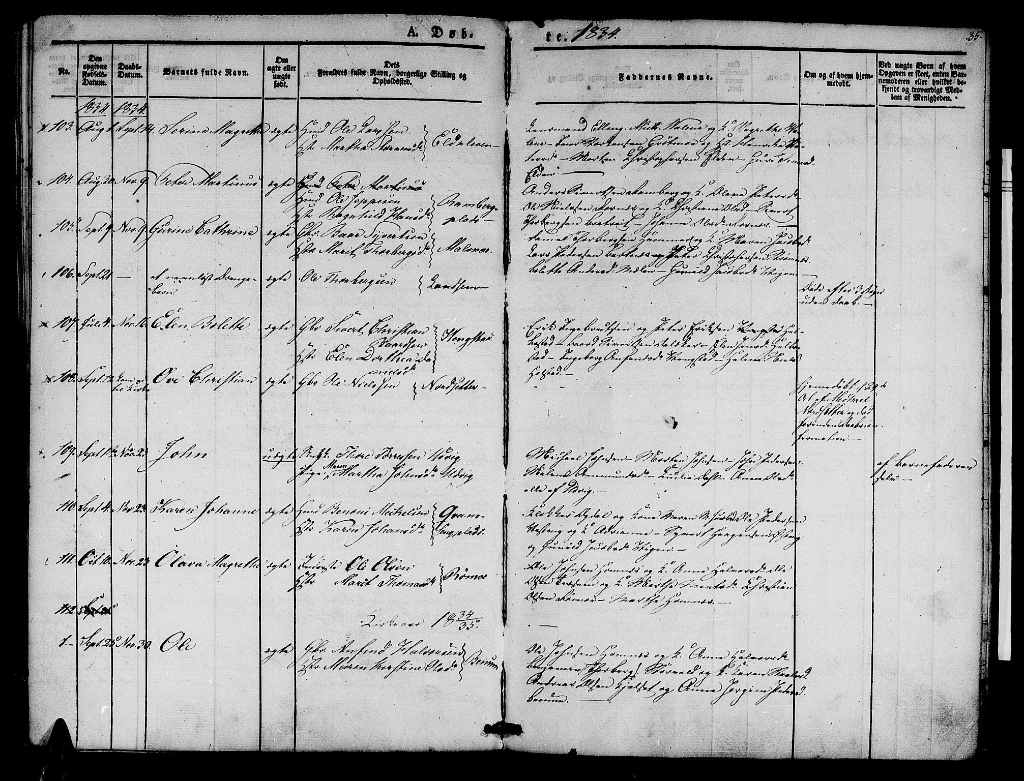SAT, Ministerialprotokoller, klokkerbøker og fødselsregistre - Nord-Trøndelag, 741/L0391: Ministerialbok nr. 741A05, 1831-1836, s. 35