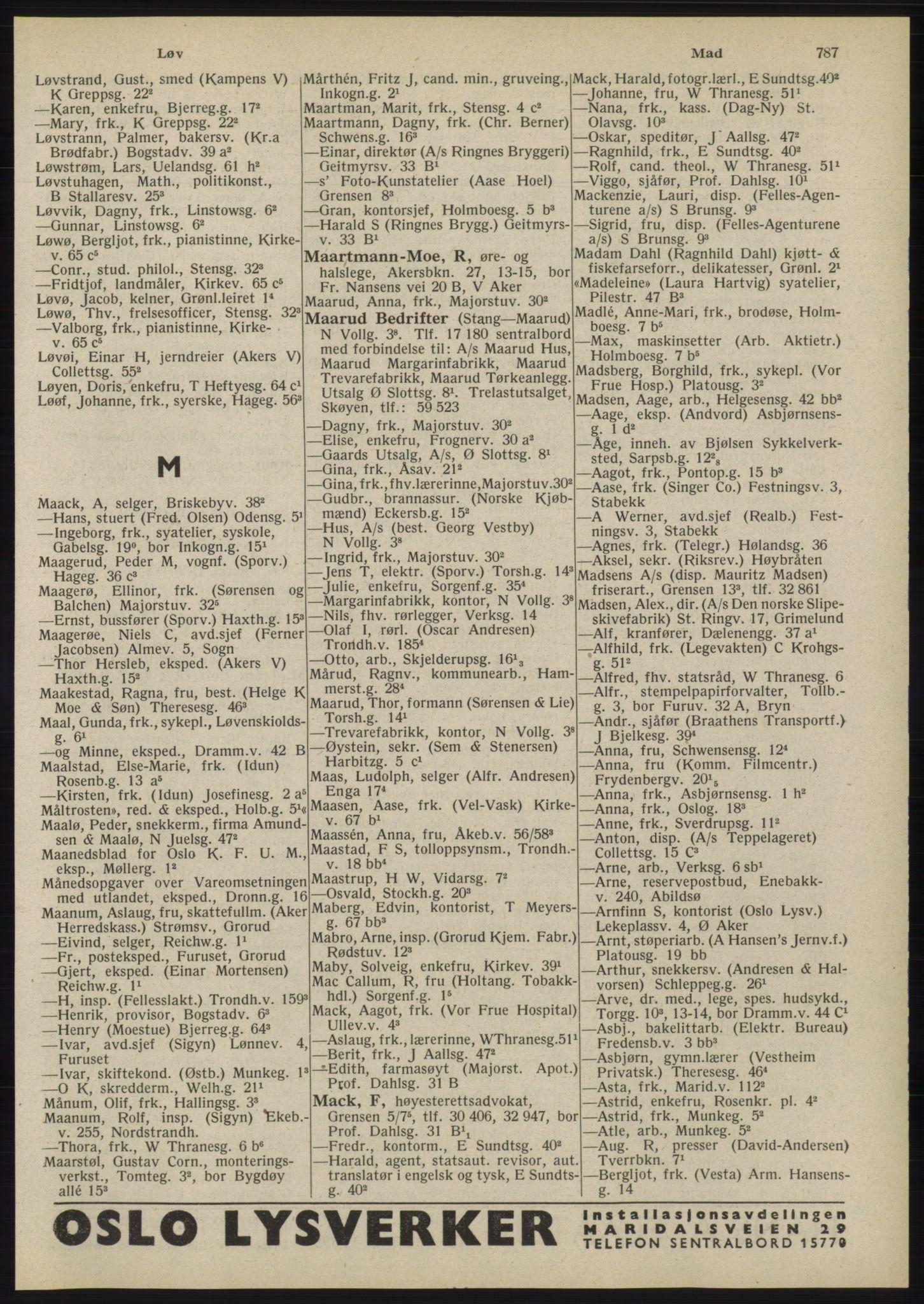 RA, Oslo adressebok (publikasjon)*, 1945, s. 787