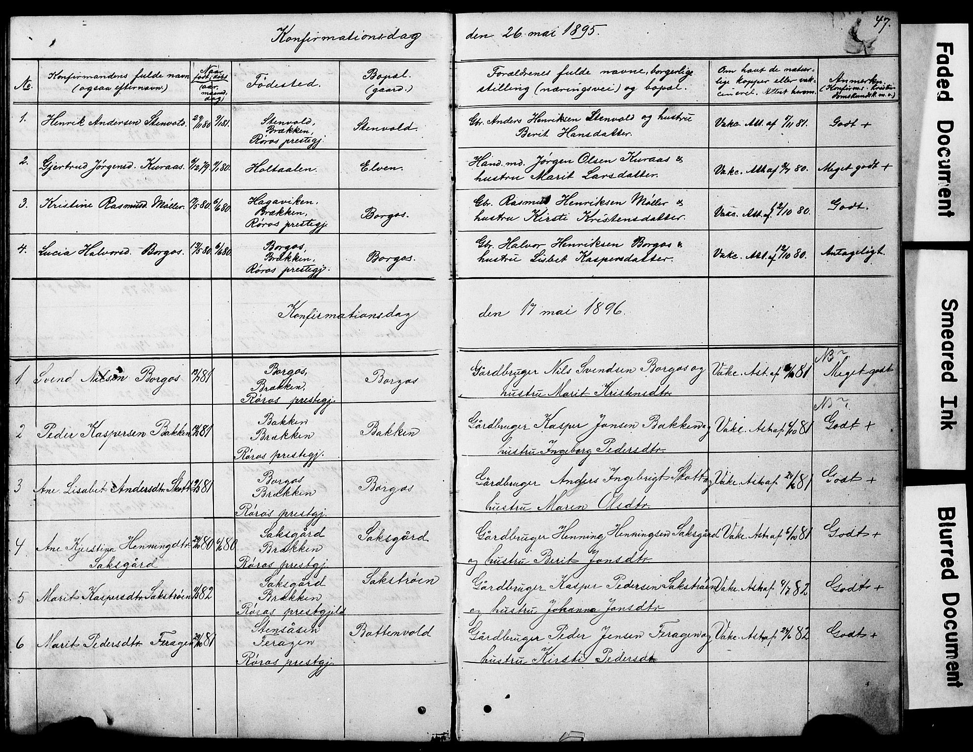 SAT, Ministerialprotokoller, klokkerbøker og fødselsregistre - Sør-Trøndelag, 683/L0949: Klokkerbok nr. 683C01, 1880-1896, s. 47