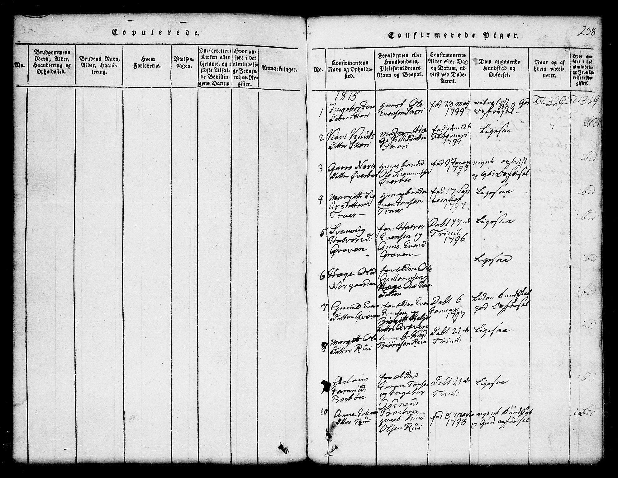 SAKO, Seljord kirkebøker, G/Gc/L0001: Klokkerbok nr. III 1, 1815-1849, s. 238
