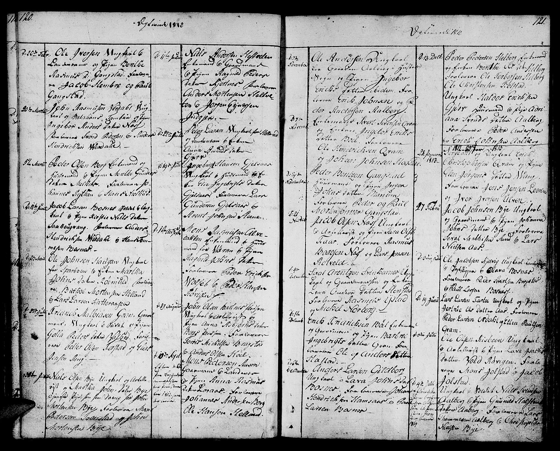SAT, Ministerialprotokoller, klokkerbøker og fødselsregistre - Nord-Trøndelag, 730/L0274: Ministerialbok nr. 730A03, 1802-1816, s. 120-121