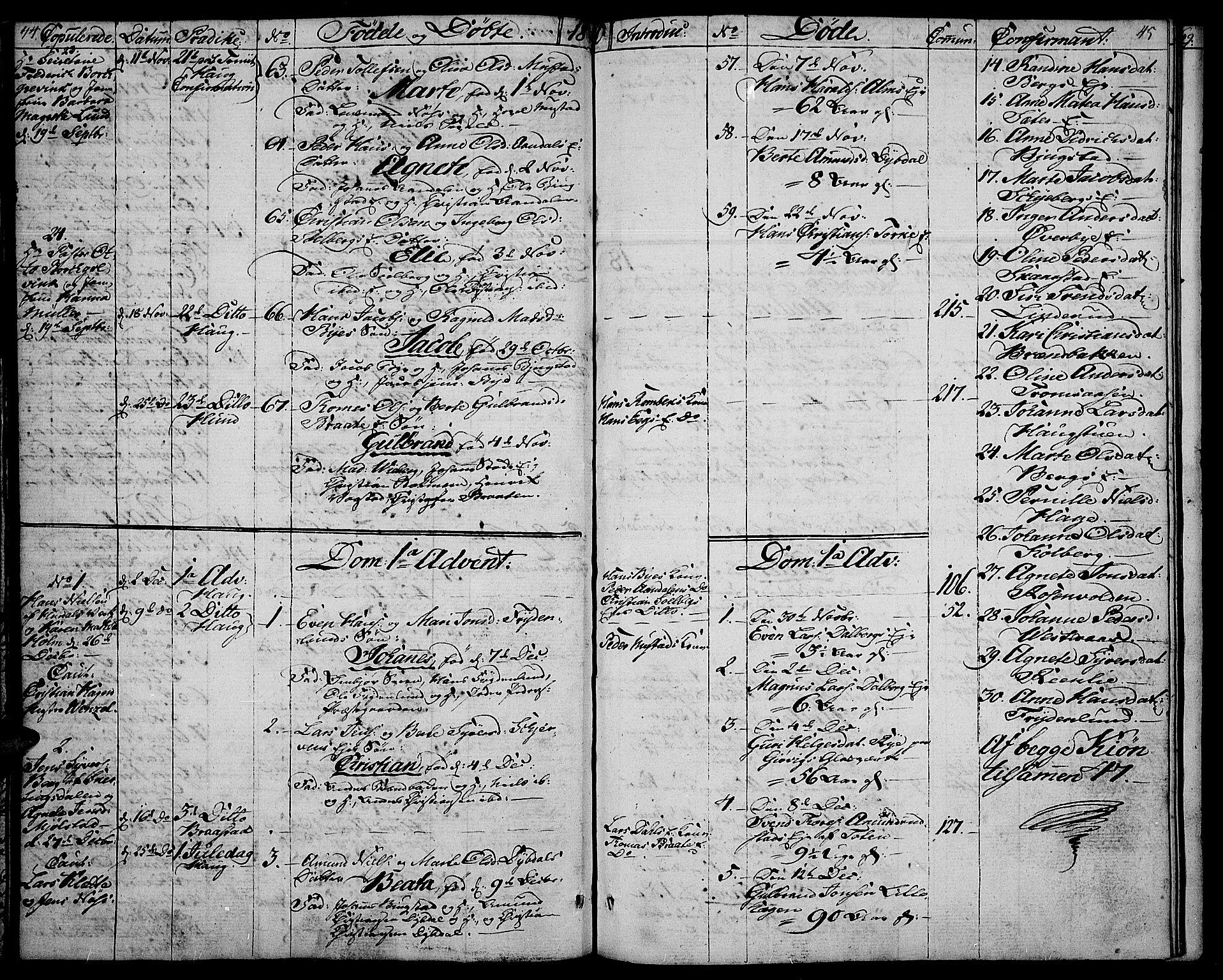 SAH, Vardal prestekontor, H/Ha/Haa/L0003: Ministerialbok nr. 3, 1808-1814, s. 44-45