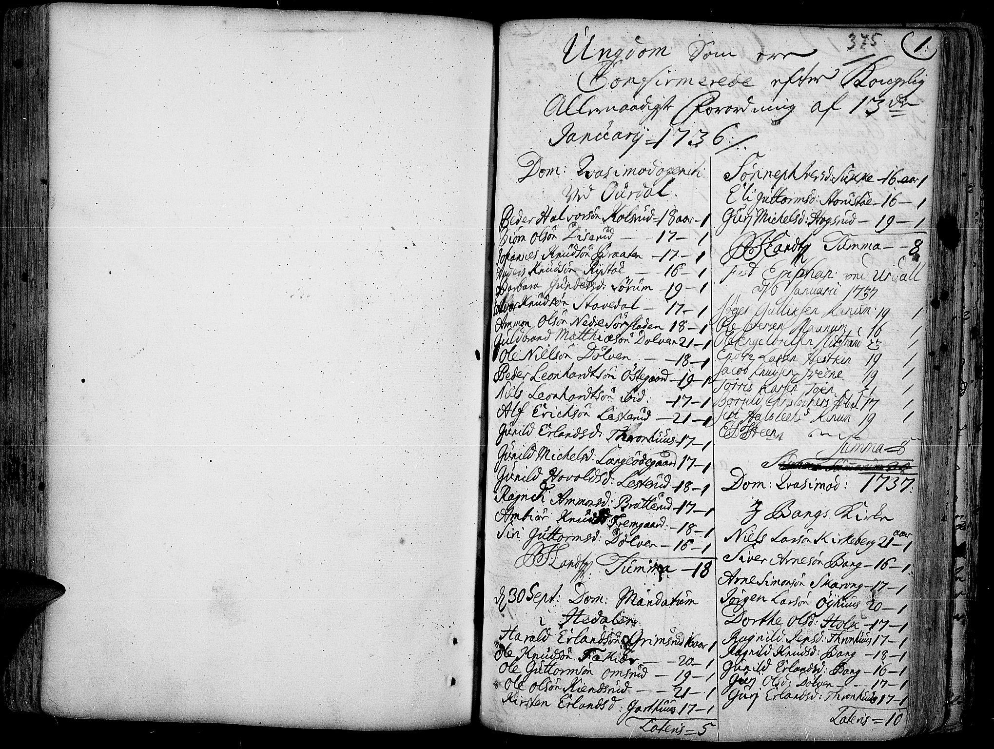 SAH, Aurdal prestekontor, Ministerialbok nr. 4, 1730-1762, s. 0-1