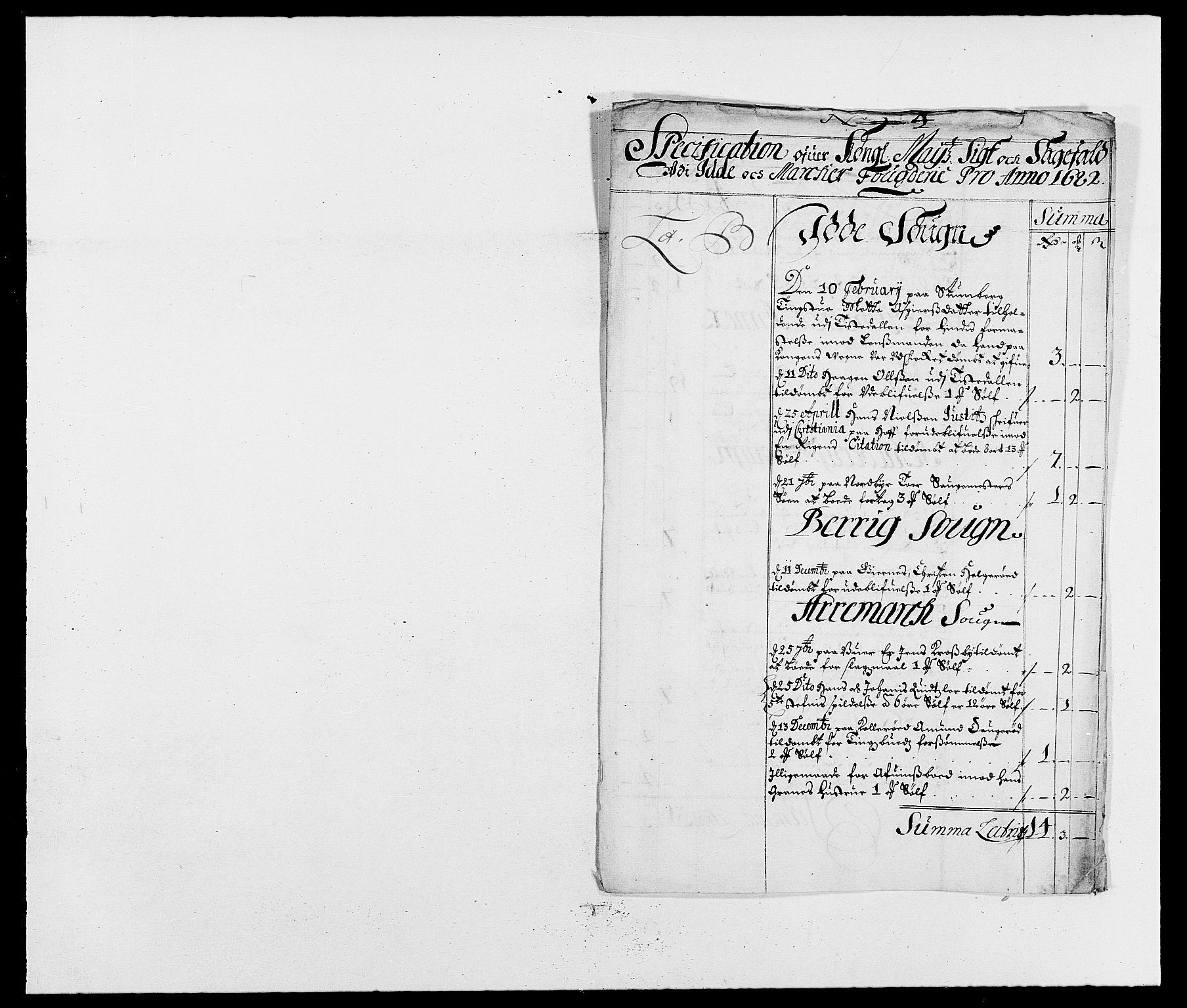 RA, Rentekammeret inntil 1814, Reviderte regnskaper, Fogderegnskap, R01/L0004: Fogderegnskap Idd og Marker , 1682-1683, s. 52