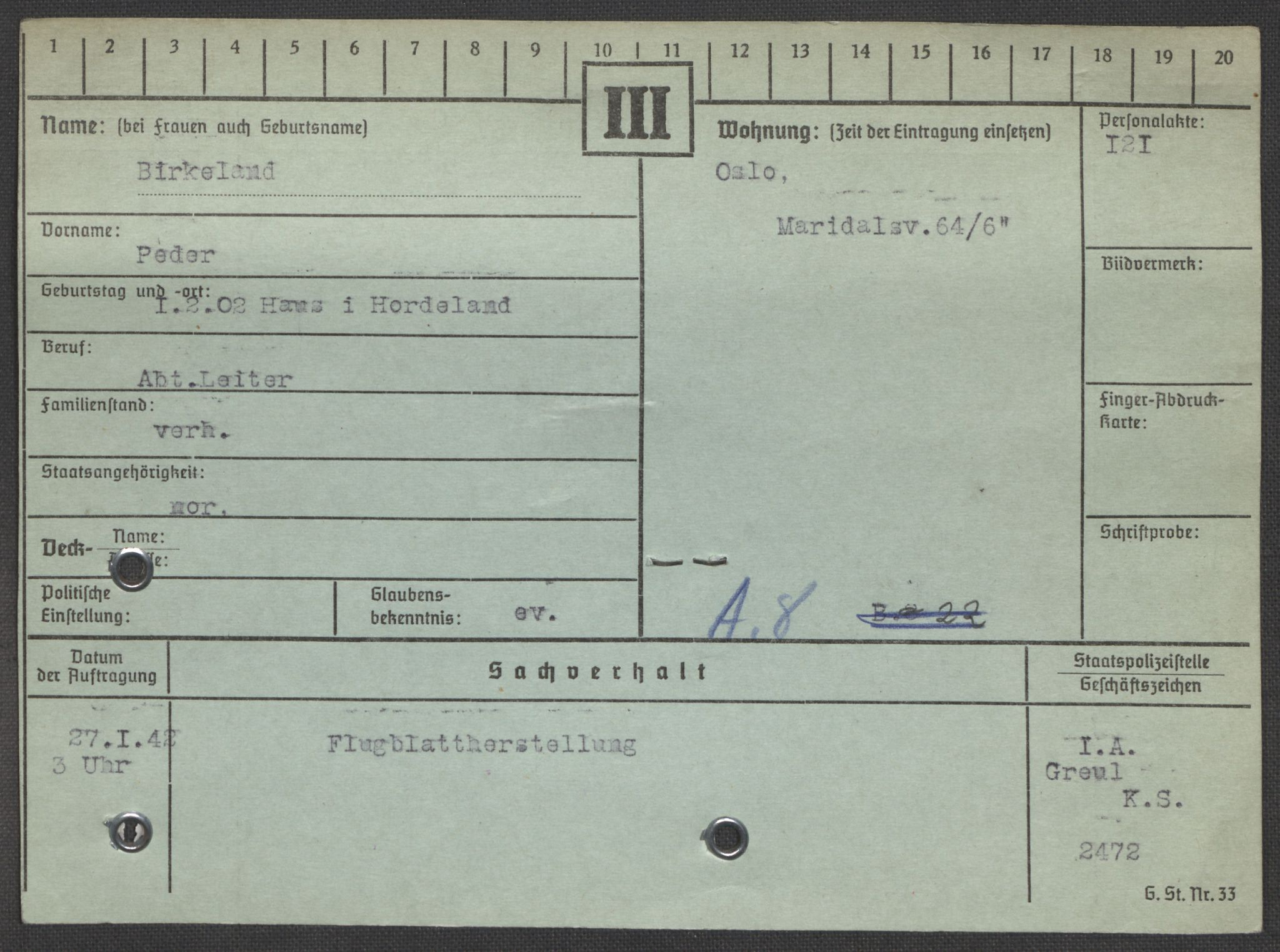 RA, Befehlshaber der Sicherheitspolizei und des SD, E/Ea/Eaa/L0001: Register over norske fanger i Møllergata 19: A-Bj, 1940-1945, s. 1203