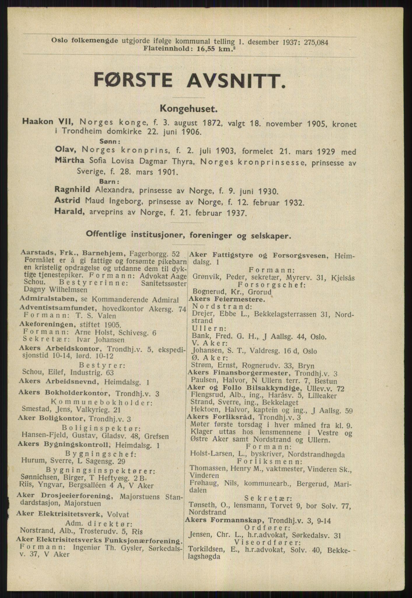RA, Oslo adressebok (publikasjon)*, 1939, s. 1