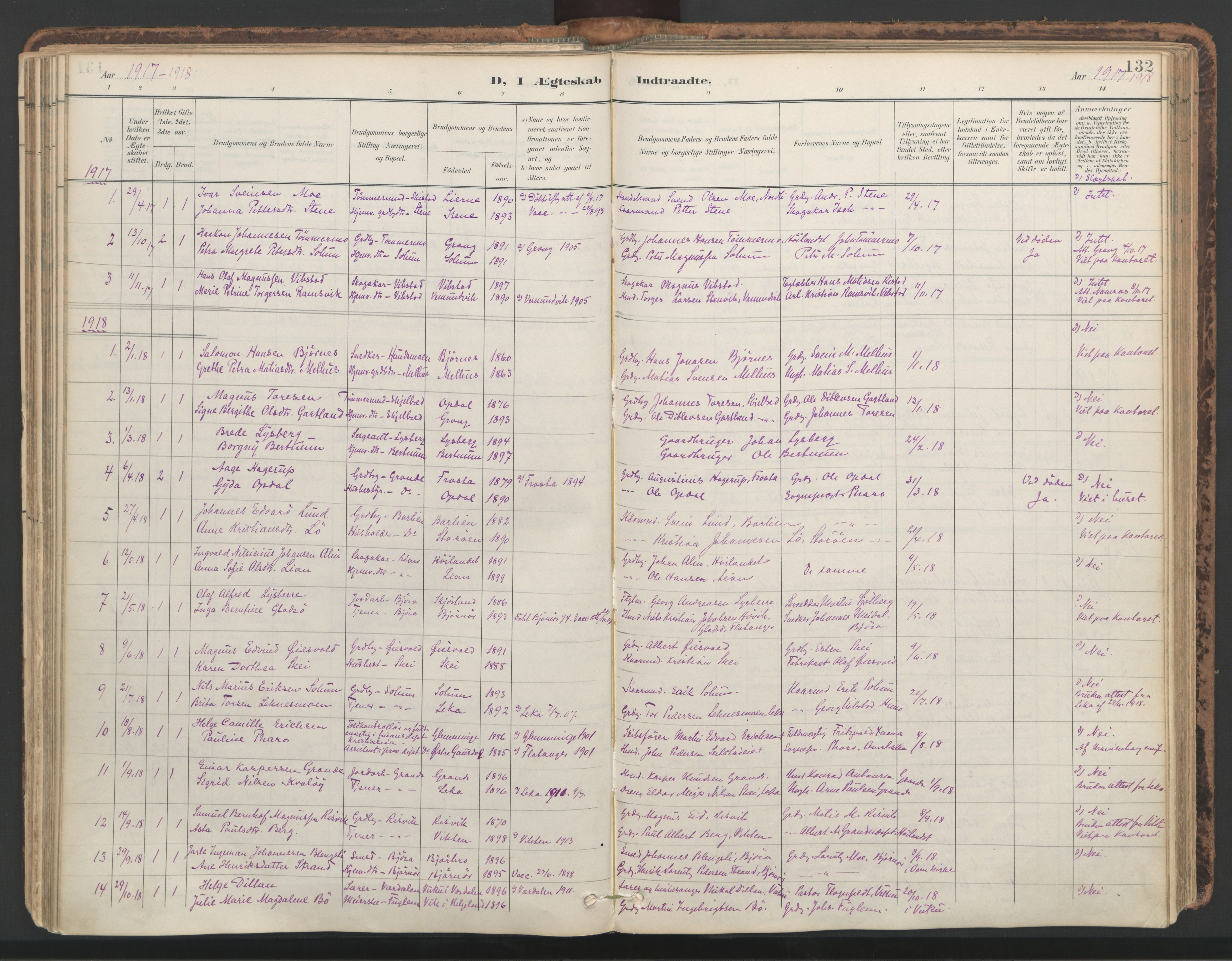 SAT, Ministerialprotokoller, klokkerbøker og fødselsregistre - Nord-Trøndelag, 764/L0556: Ministerialbok nr. 764A11, 1897-1924, s. 132