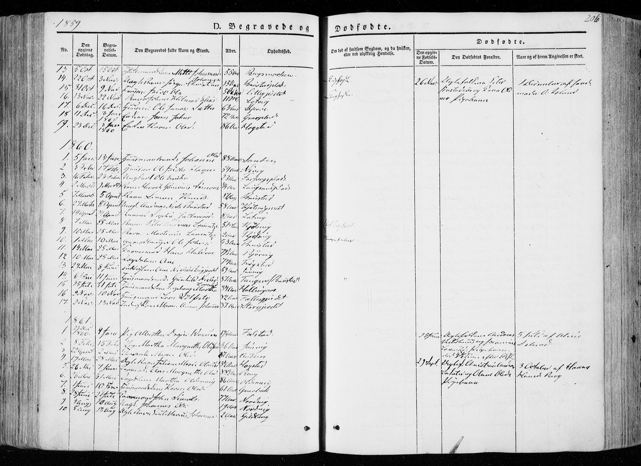SAT, Ministerialprotokoller, klokkerbøker og fødselsregistre - Nord-Trøndelag, 722/L0218: Ministerialbok nr. 722A05, 1843-1868, s. 206