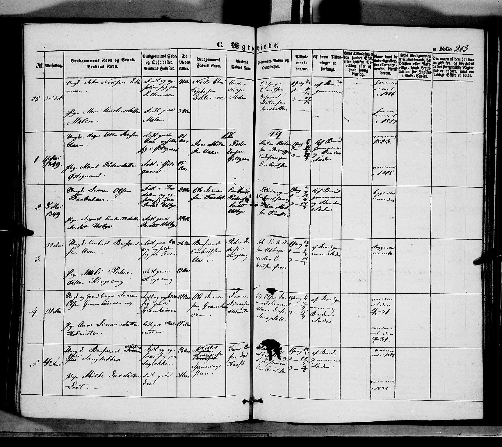 SAH, Tynset prestekontor, Ministerialbok nr. 20, 1848-1862, s. 263