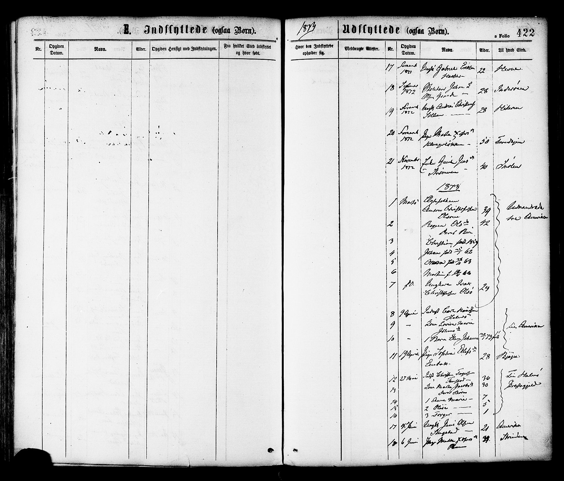 SAT, Ministerialprotokoller, klokkerbøker og fødselsregistre - Sør-Trøndelag, 646/L0613: Ministerialbok nr. 646A11, 1870-1884, s. 422
