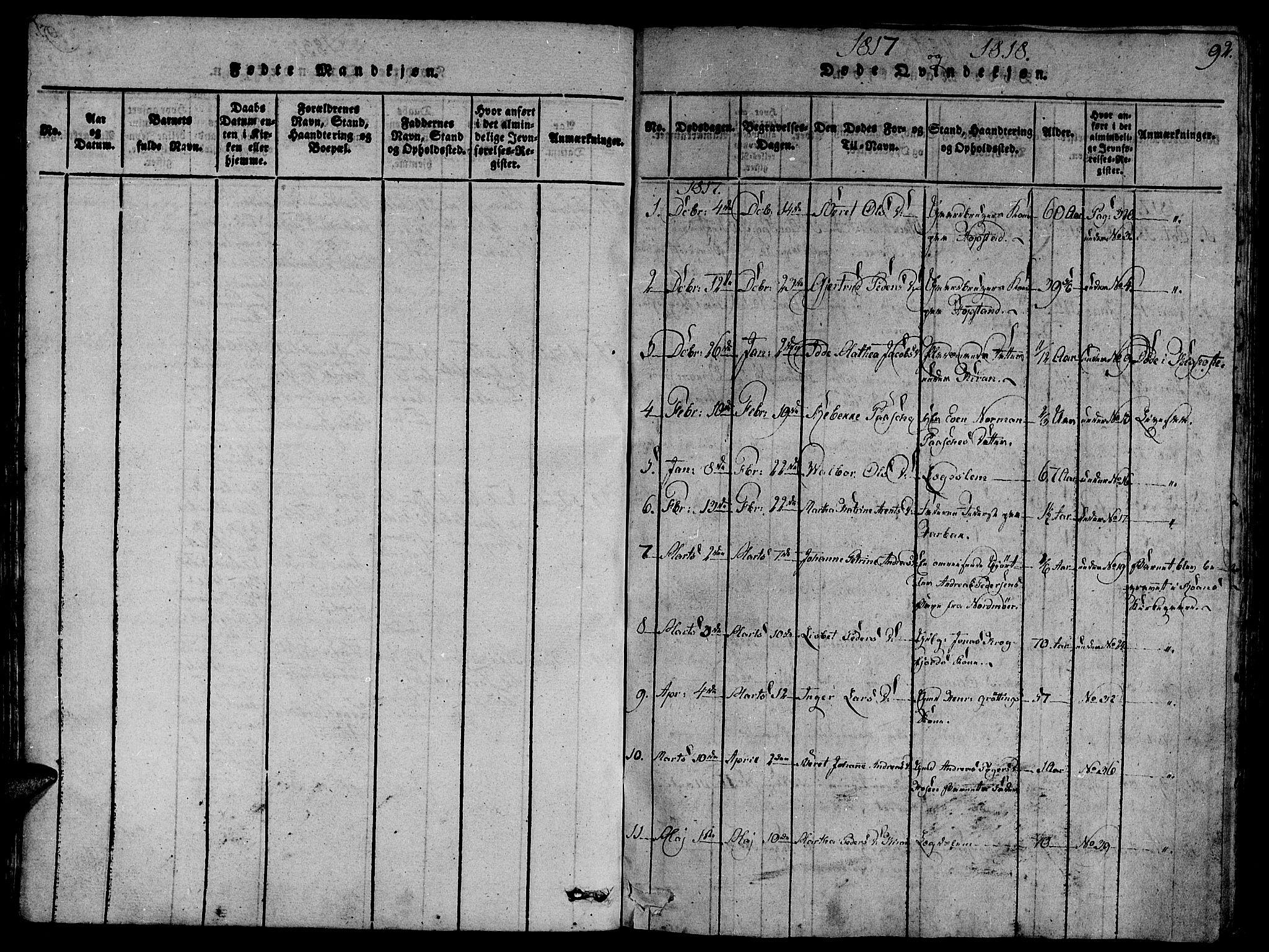 SAT, Ministerialprotokoller, klokkerbøker og fødselsregistre - Sør-Trøndelag, 657/L0702: Ministerialbok nr. 657A03, 1818-1831, s. 92