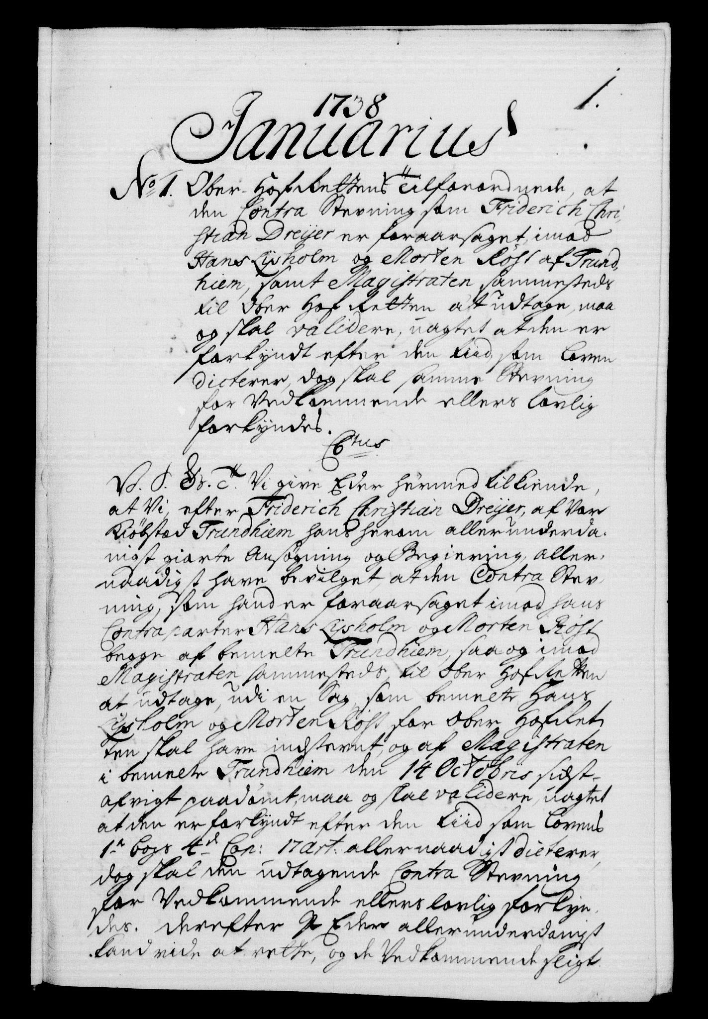 RA, Danske Kanselli 1572-1799, F/Fc/Fca/Fcab/L0028: Norske tegnelser, 1738-1740, s. 1a