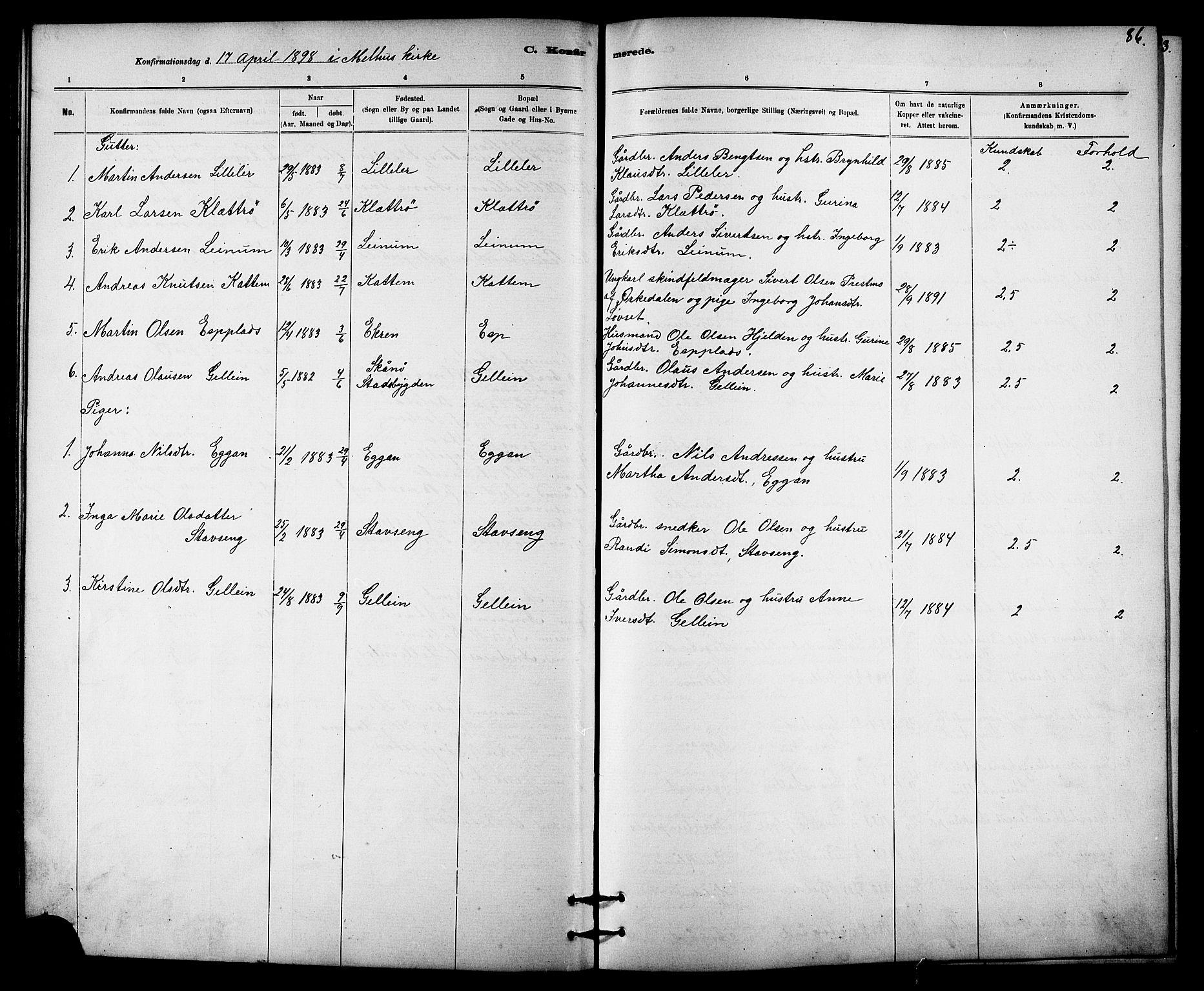 SAT, Ministerialprotokoller, klokkerbøker og fødselsregistre - Sør-Trøndelag, 613/L0395: Klokkerbok nr. 613C03, 1887-1909, s. 86
