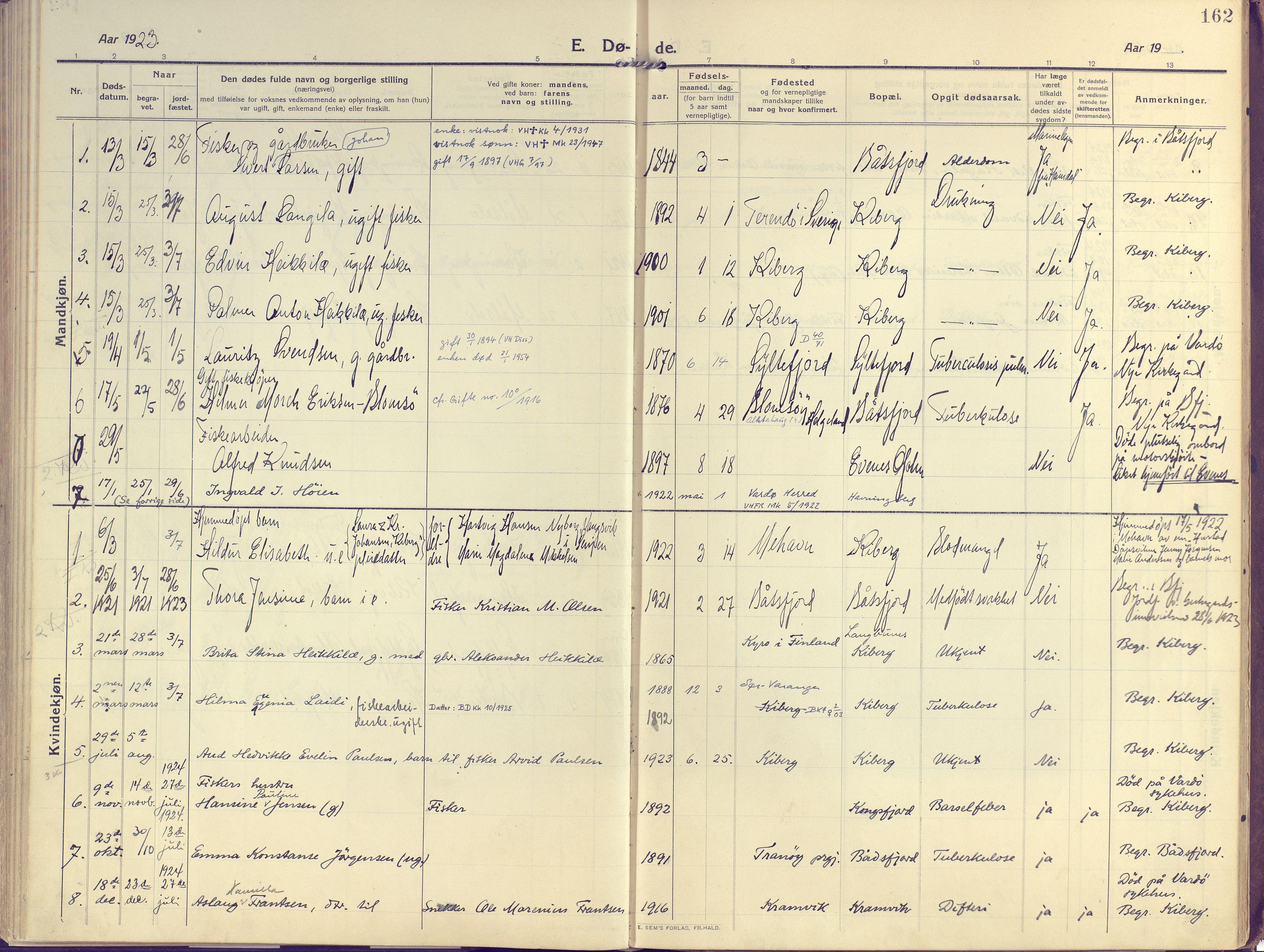 SATØ, Vardø sokneprestkontor, H/Ha/L0013kirke: Ministerialbok nr. 13, 1912-1928, s. 162