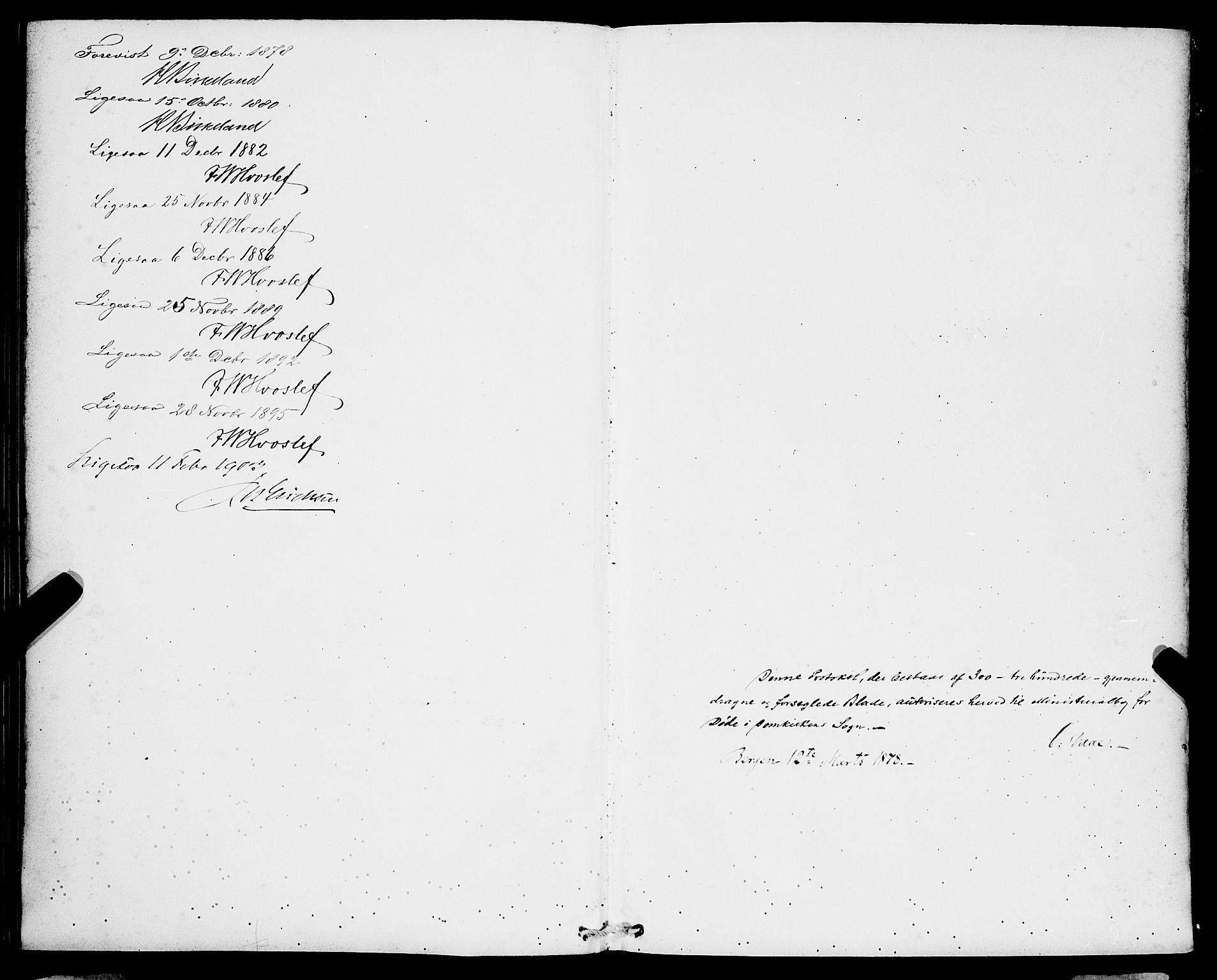 SAB, Domkirken Sokneprestembete, H/Hab/L0041: Klokkerbok nr. E 5, 1878-1900