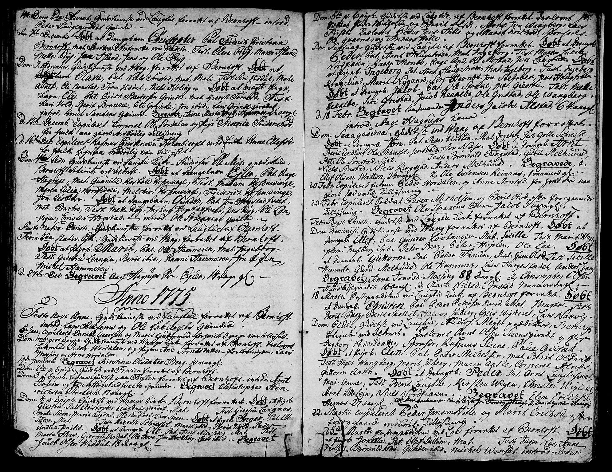 SAT, Ministerialprotokoller, klokkerbøker og fødselsregistre - Nord-Trøndelag, 713/L0109: Ministerialbok nr. 713A01, 1750-1778, s. 144-145