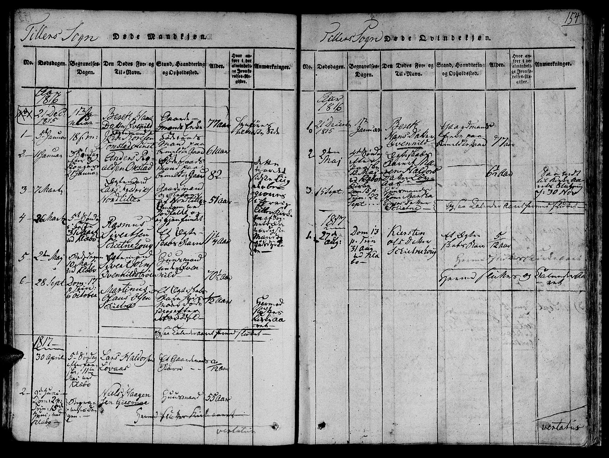 SAT, Ministerialprotokoller, klokkerbøker og fødselsregistre - Sør-Trøndelag, 618/L0440: Ministerialbok nr. 618A04 /2, 1816-1843, s. 154
