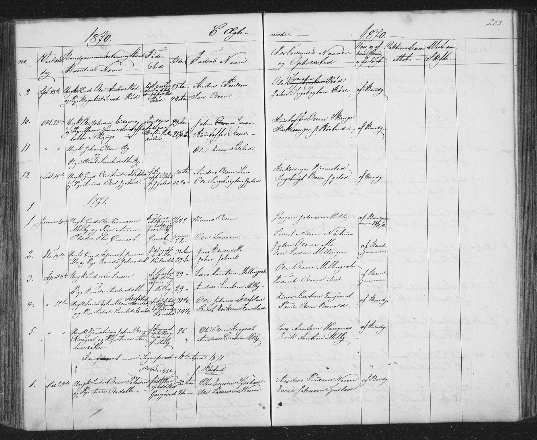 SAT, Ministerialprotokoller, klokkerbøker og fødselsregistre - Sør-Trøndelag, 667/L0798: Klokkerbok nr. 667C03, 1867-1929, s. 223